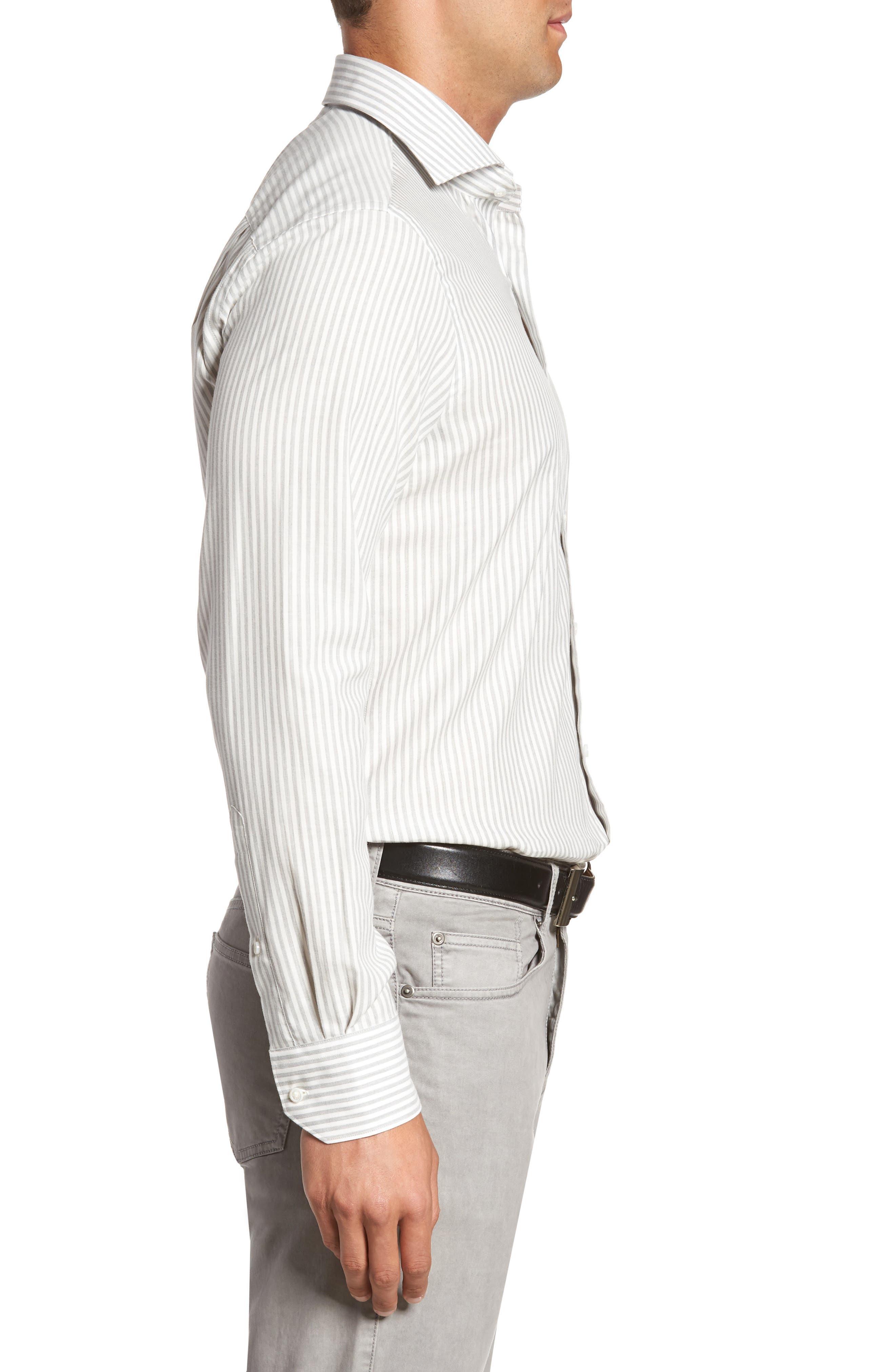 Loch Mélange Stripe Sport Shirt,                             Alternate thumbnail 3, color,                             Argento