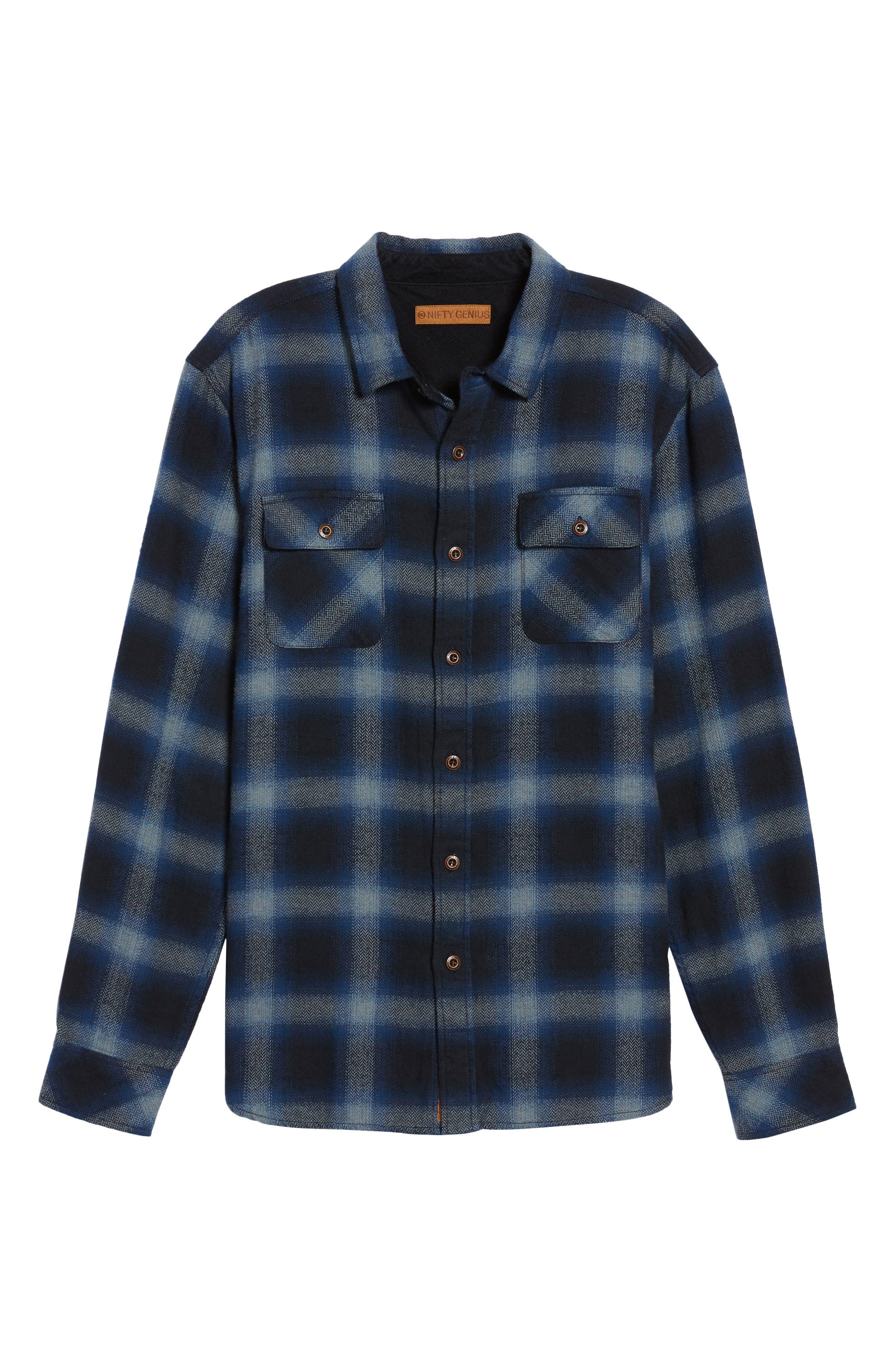 Truman Outdoor Check Sport Shirt,                             Alternate thumbnail 6, color,                             Navy/ Blue