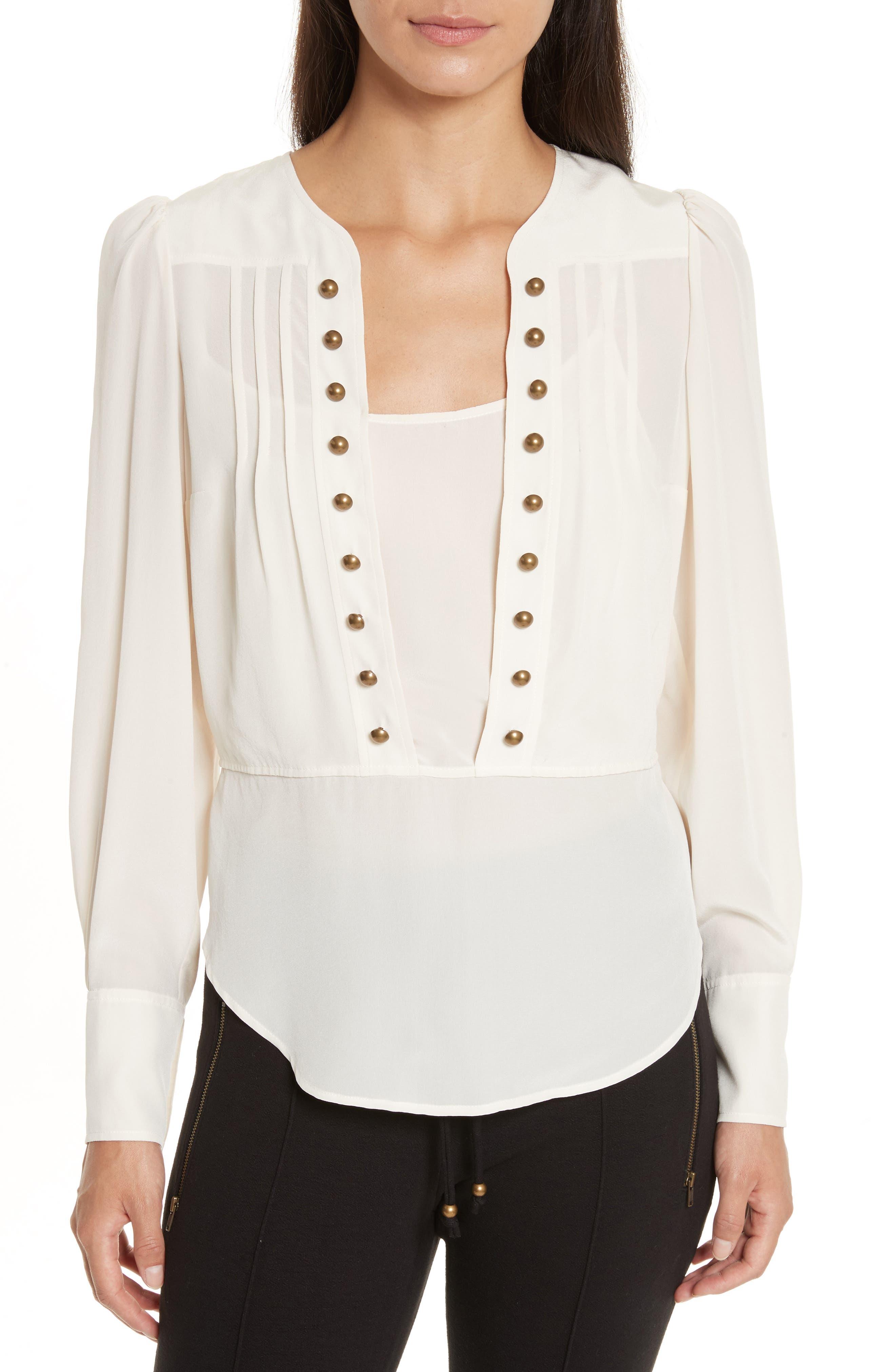 Button Front Silk Blouse,                         Main,                         color, Vanilla