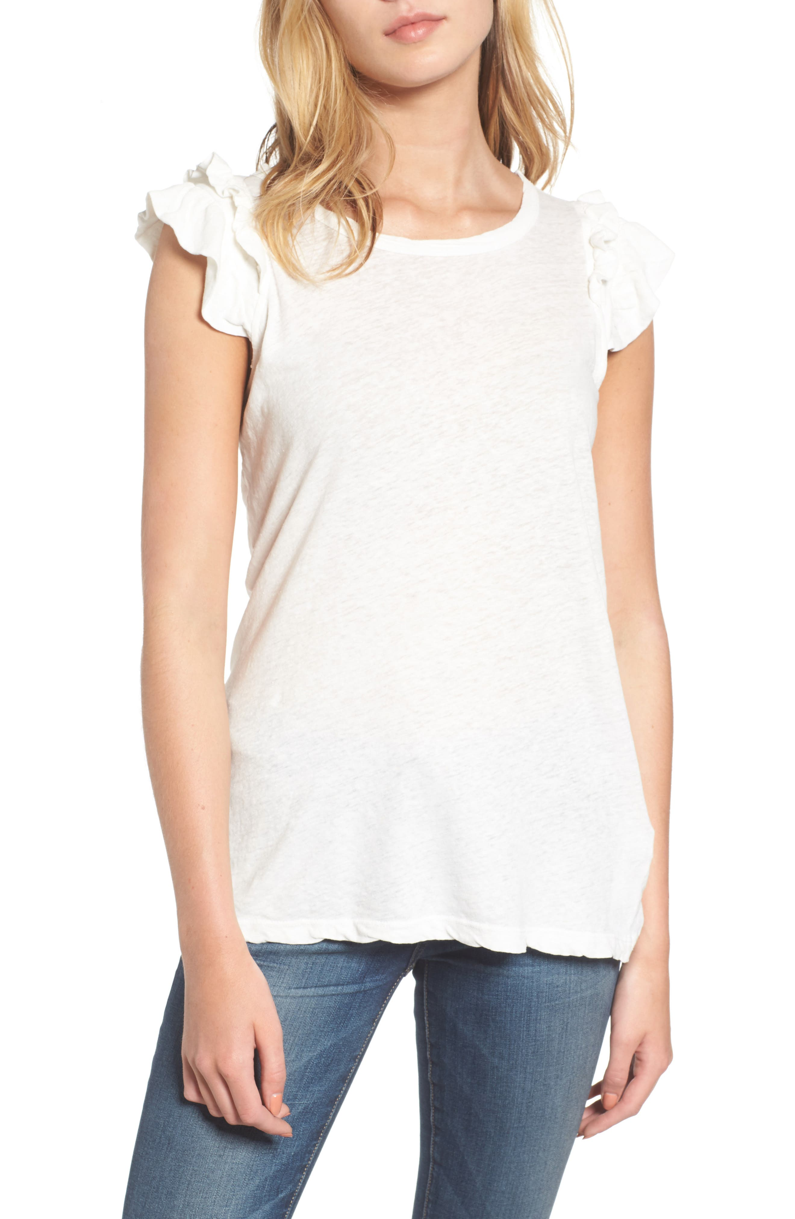 The Double Ruffle Muscle Tee,                         Main,                         color, Star White