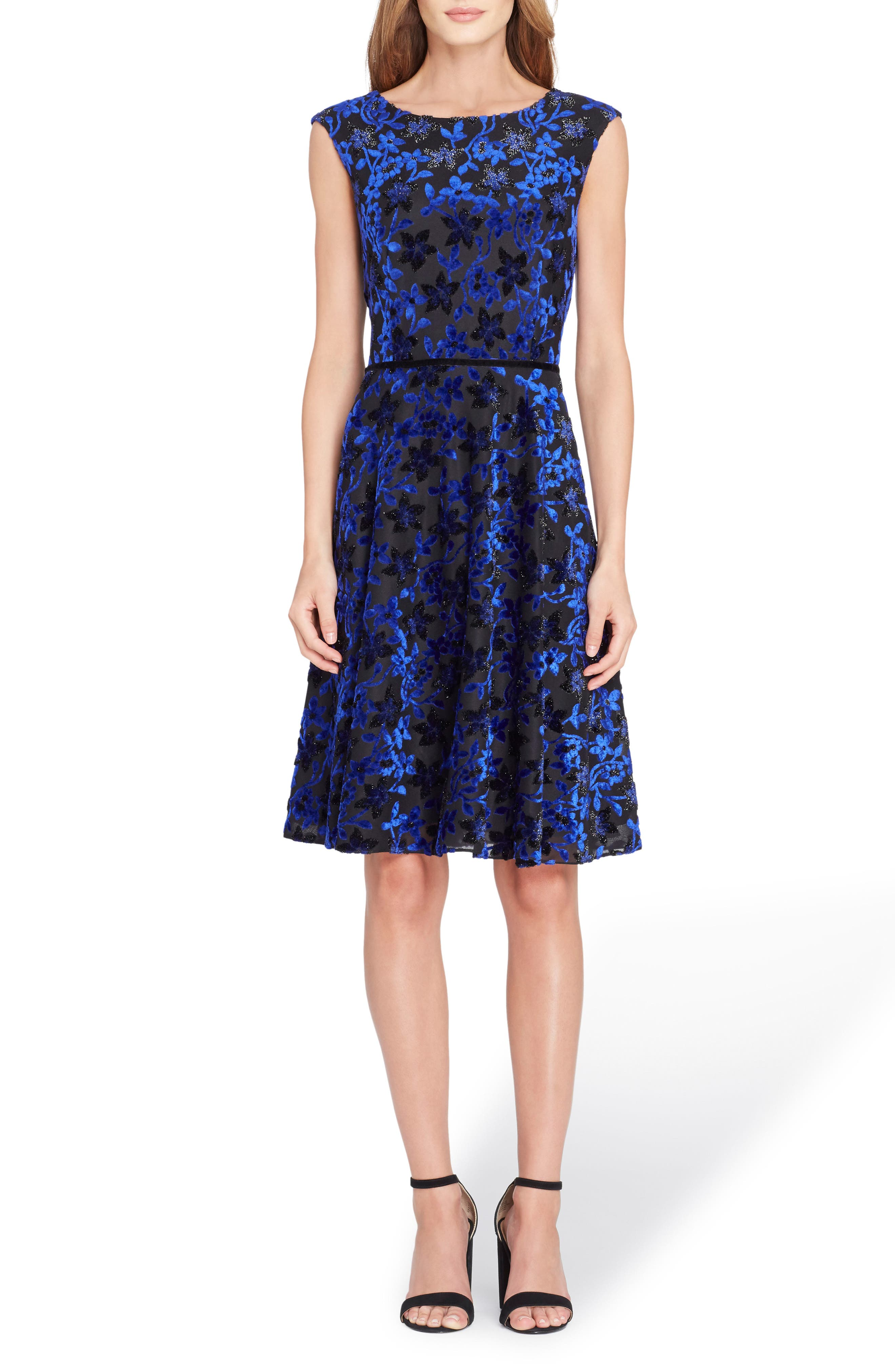 Flocked Velvet A-Line Dress,                         Main,                         color, Black/ Cobalt