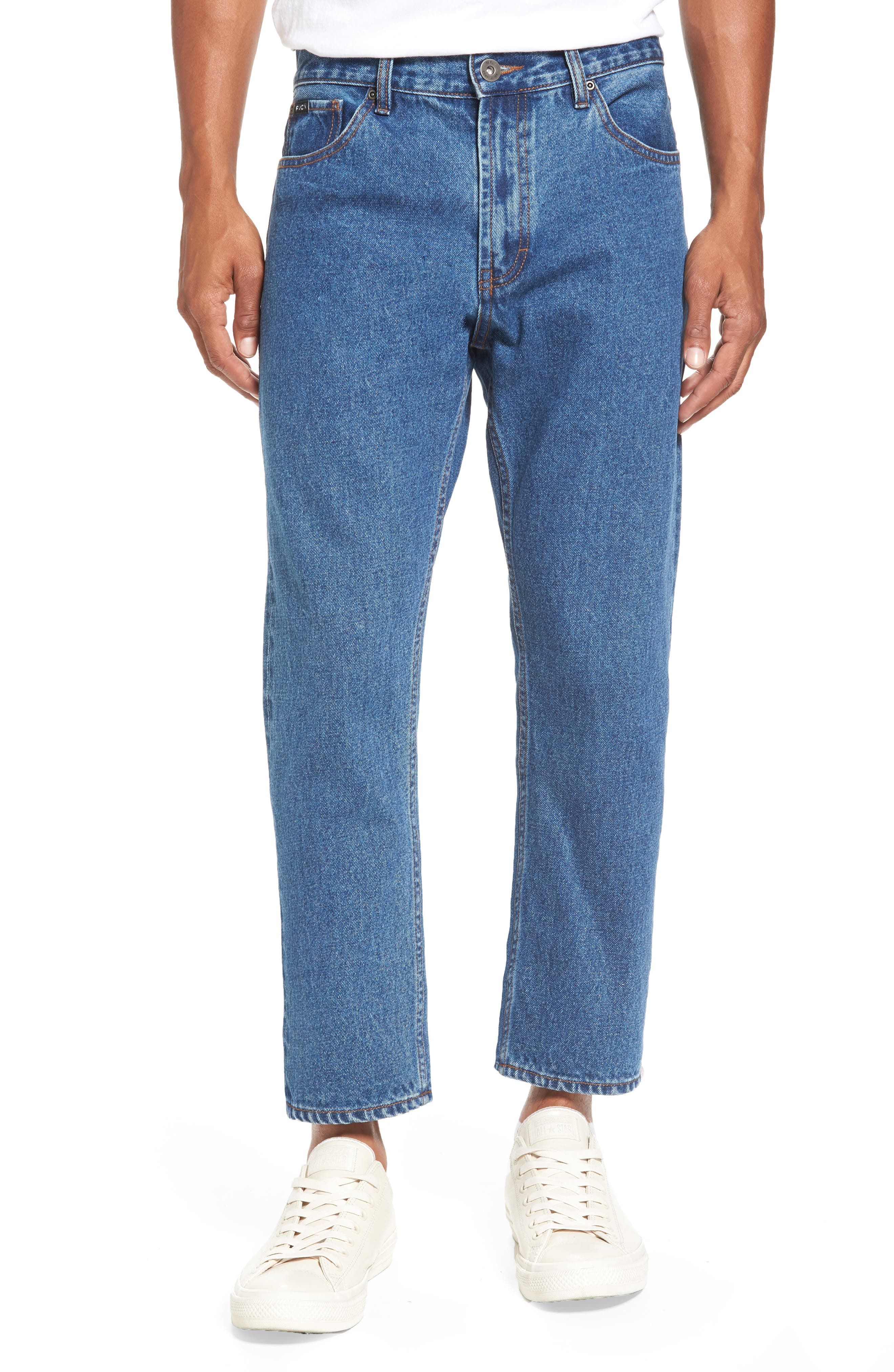 Main Image - RVCA No Wave Flood Crop Jeans (Vintage Indigo)
