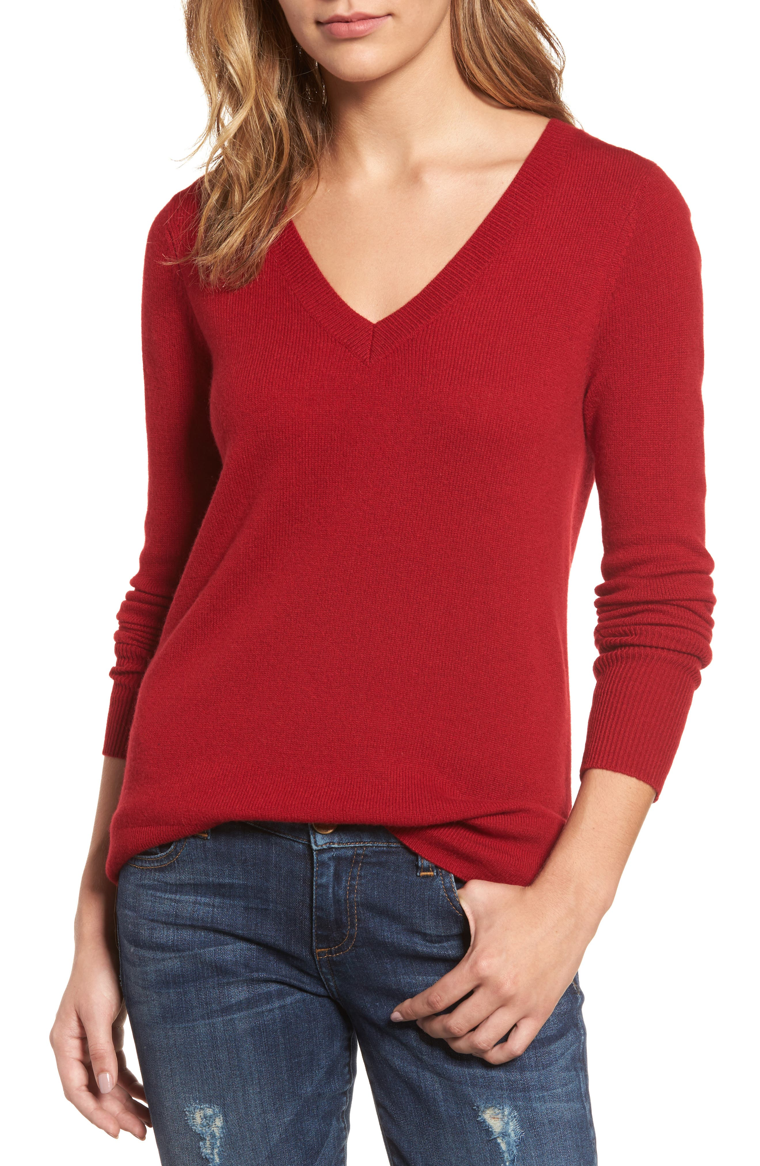 Halogen® V-Neck Cashmere Sweater (Regular & Petite)