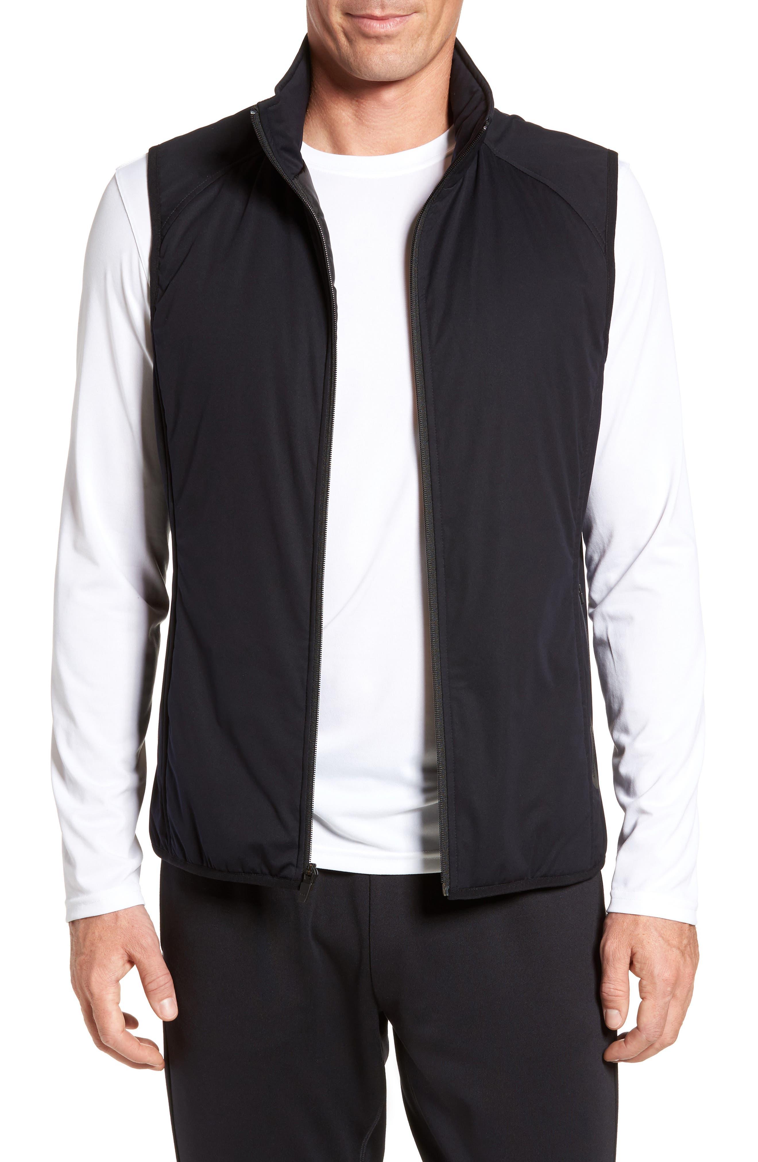 Soft Shell Zip Vest,                         Main,                         color, Black
