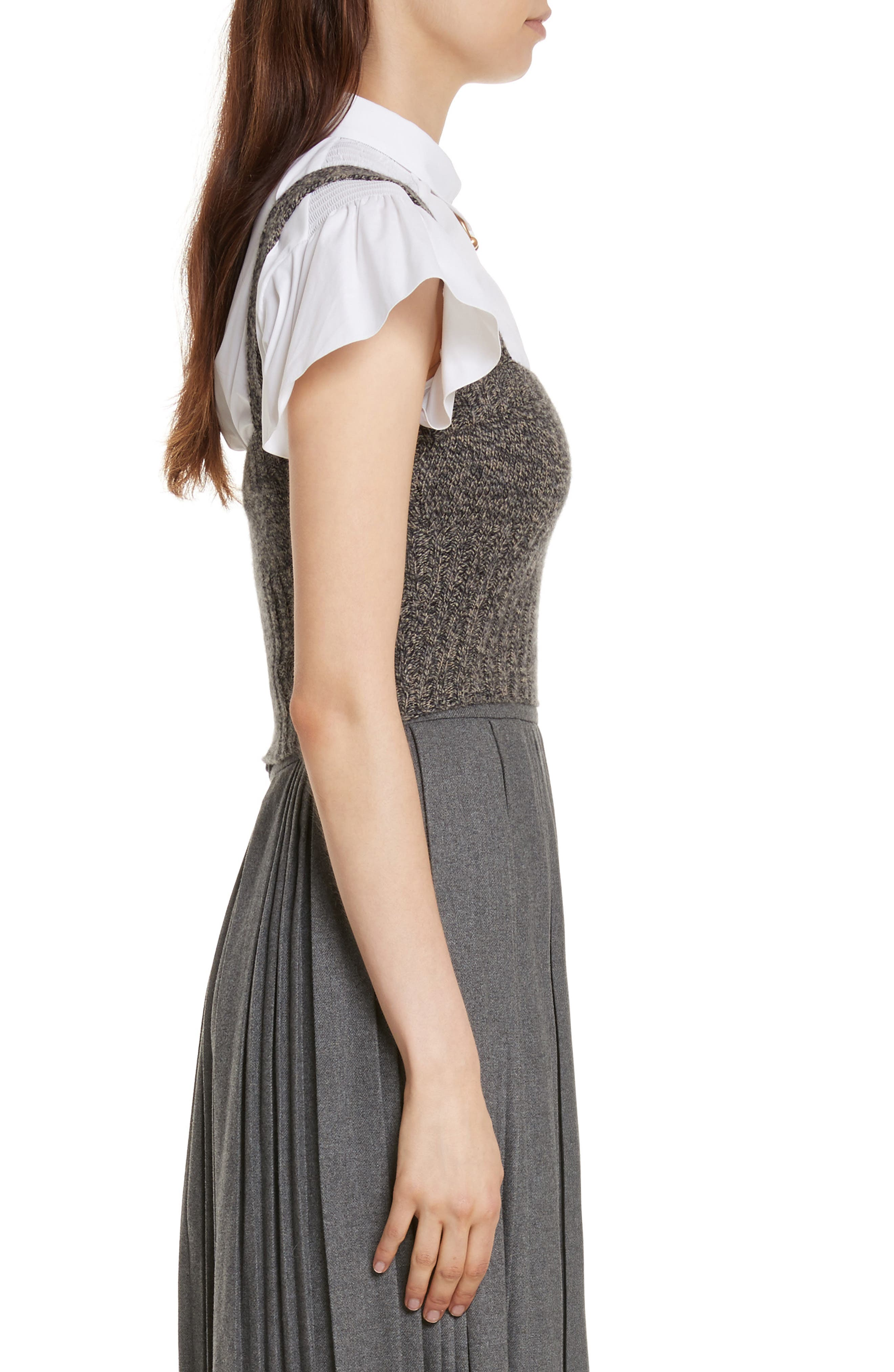 Mouline Wool Blend Sweater Tank,                             Alternate thumbnail 4, color,                             Deserto/ Nero
