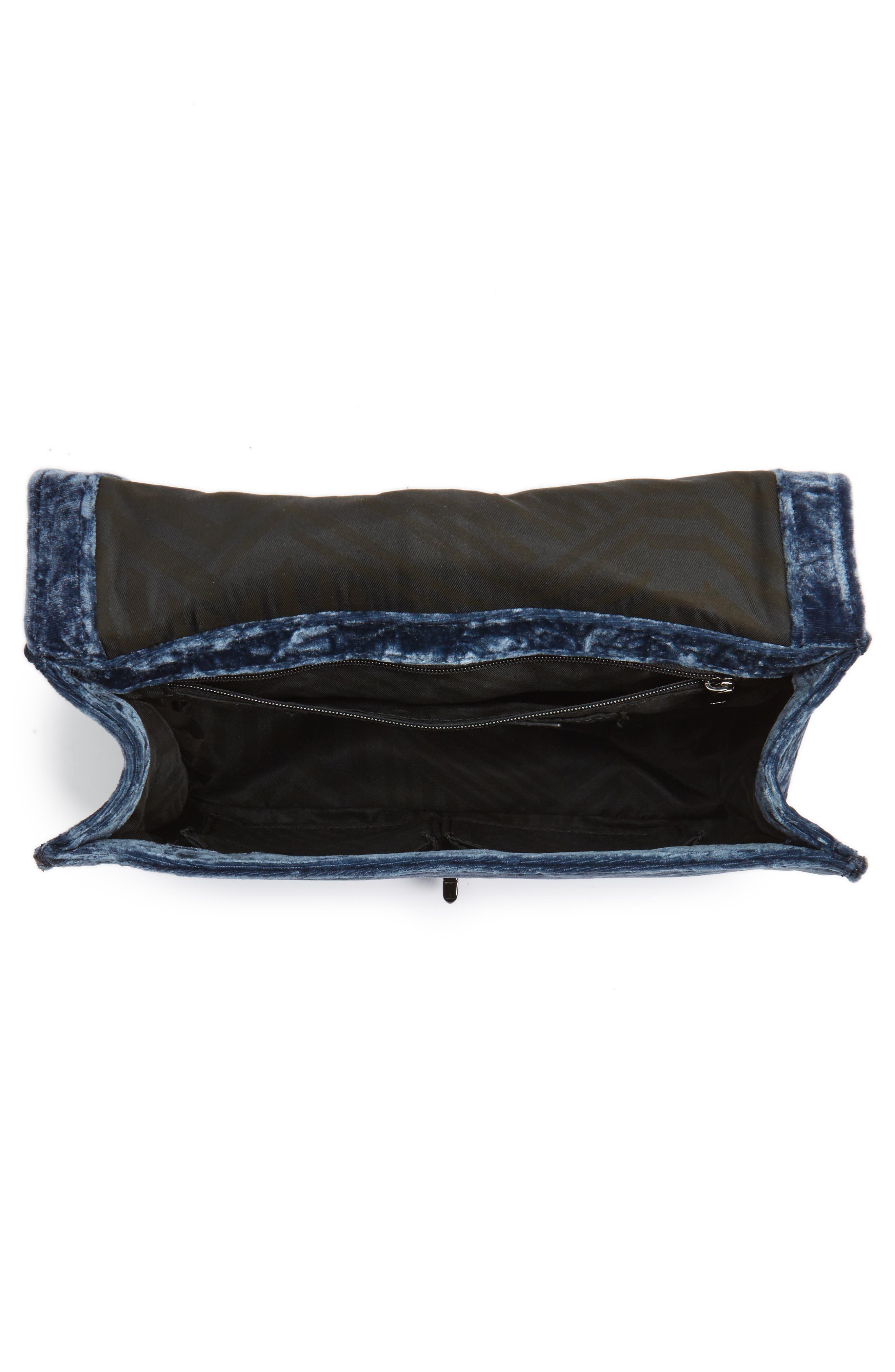 Love Velvet Quilted Crossbody Bag,                             Alternate thumbnail 4, color,                             Blue