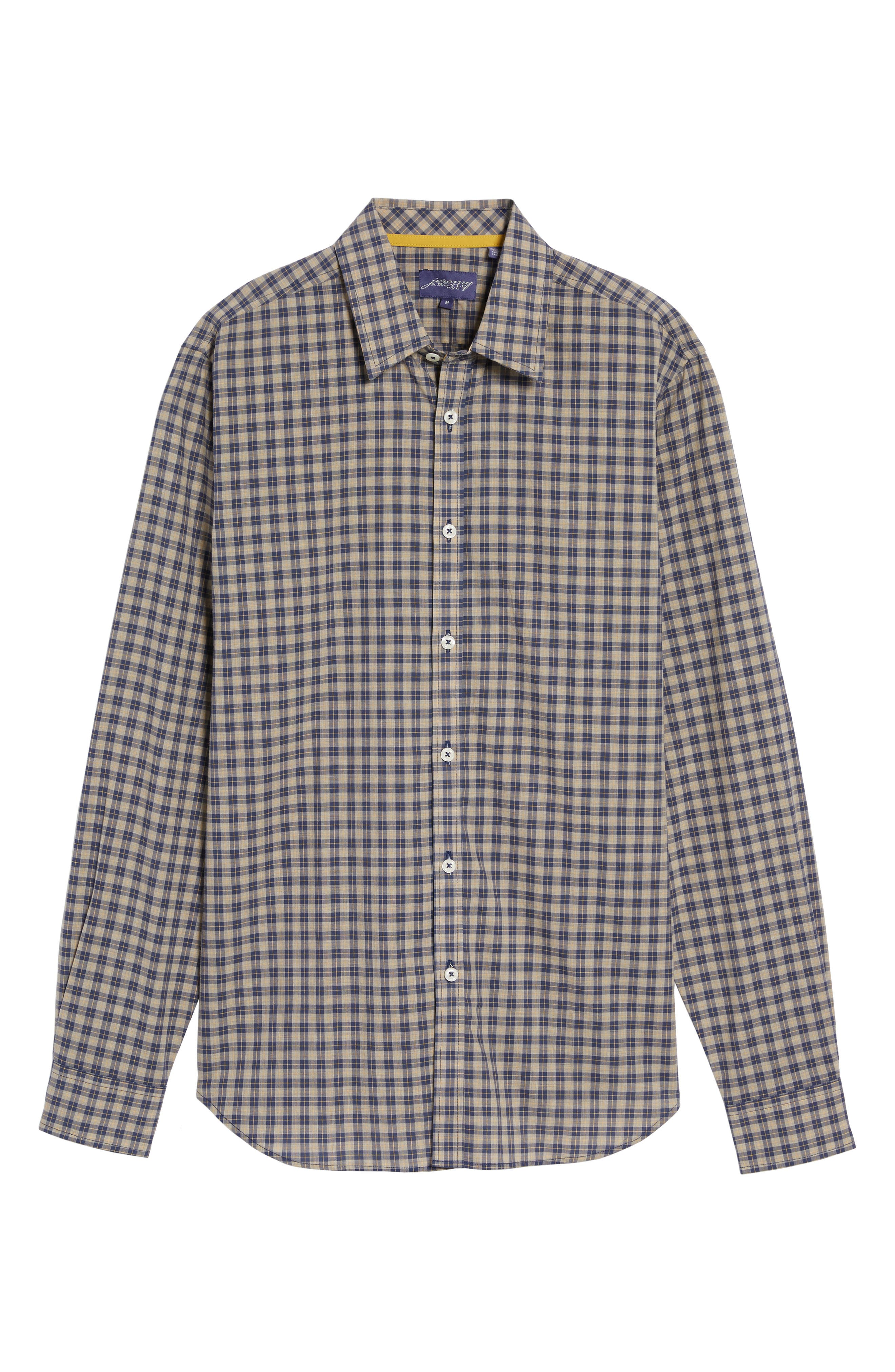 Fitted Plaid Sport Shirt,                             Alternate thumbnail 6, color,                             Open Blue