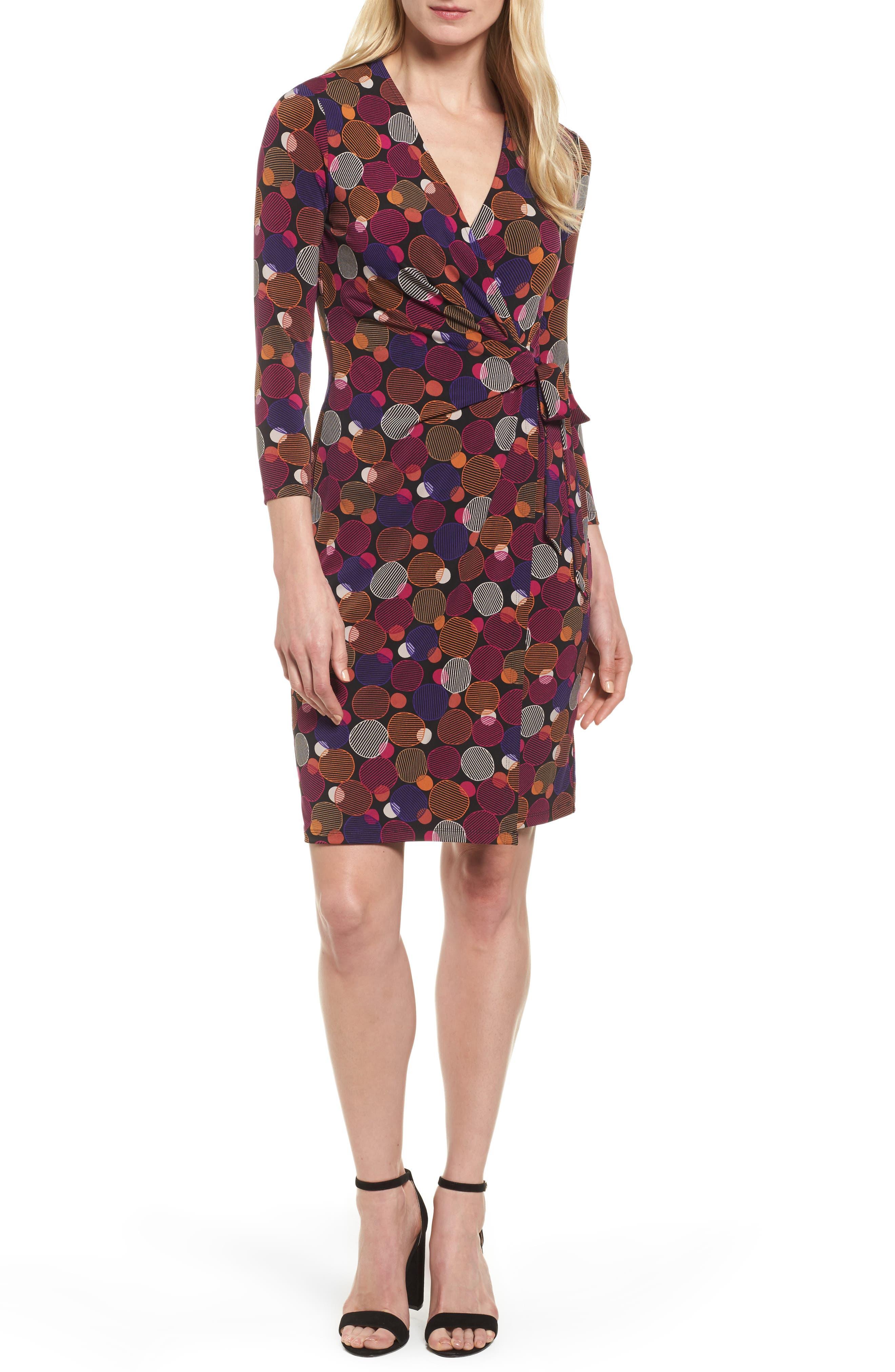 Dot Print Faux Wrap Dress,                             Main thumbnail 1, color,                             Cinnamon/ Claret Combo