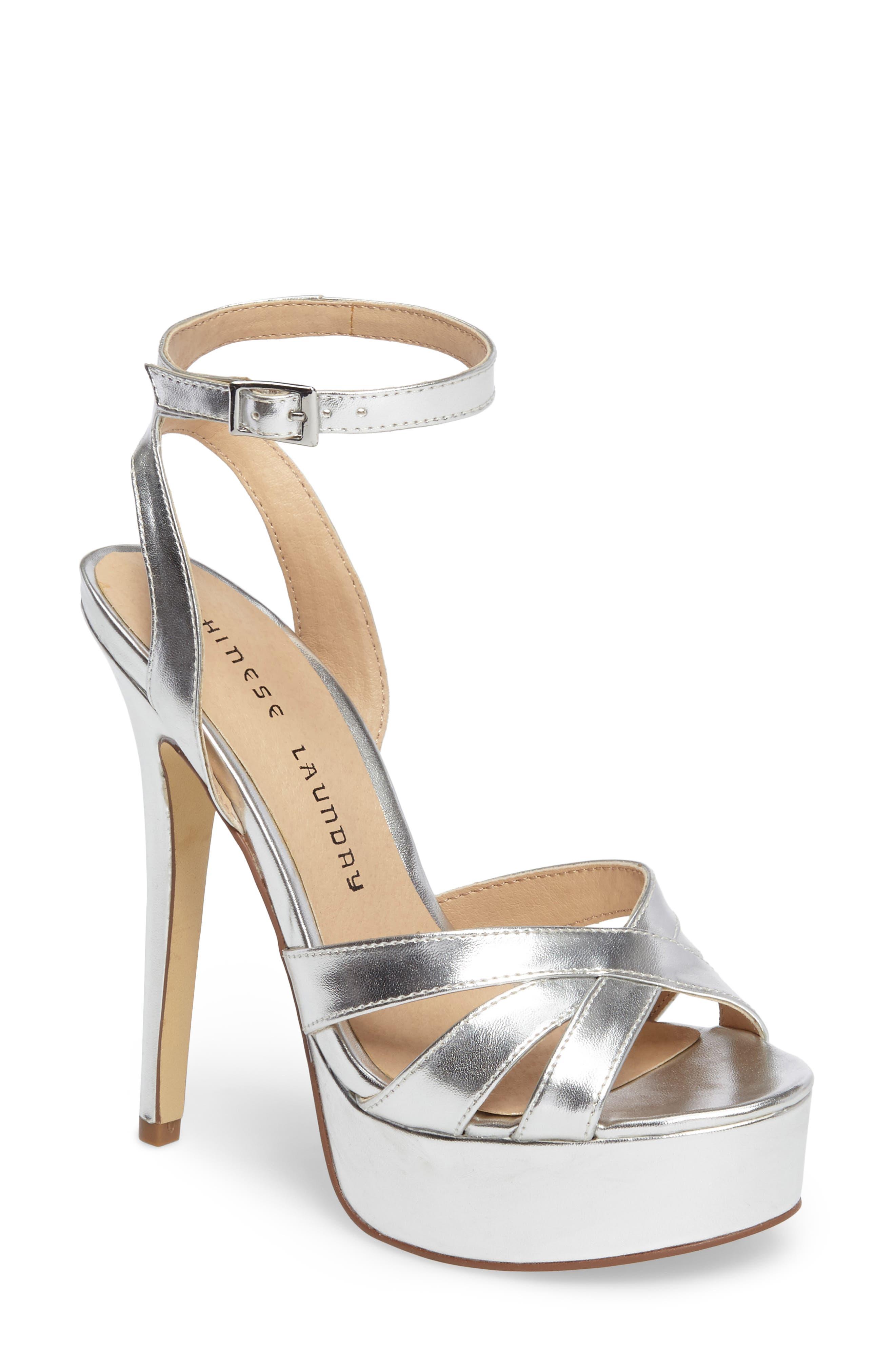 Alyssa Strappy Platform Sandal,                         Main,                         color, Silver