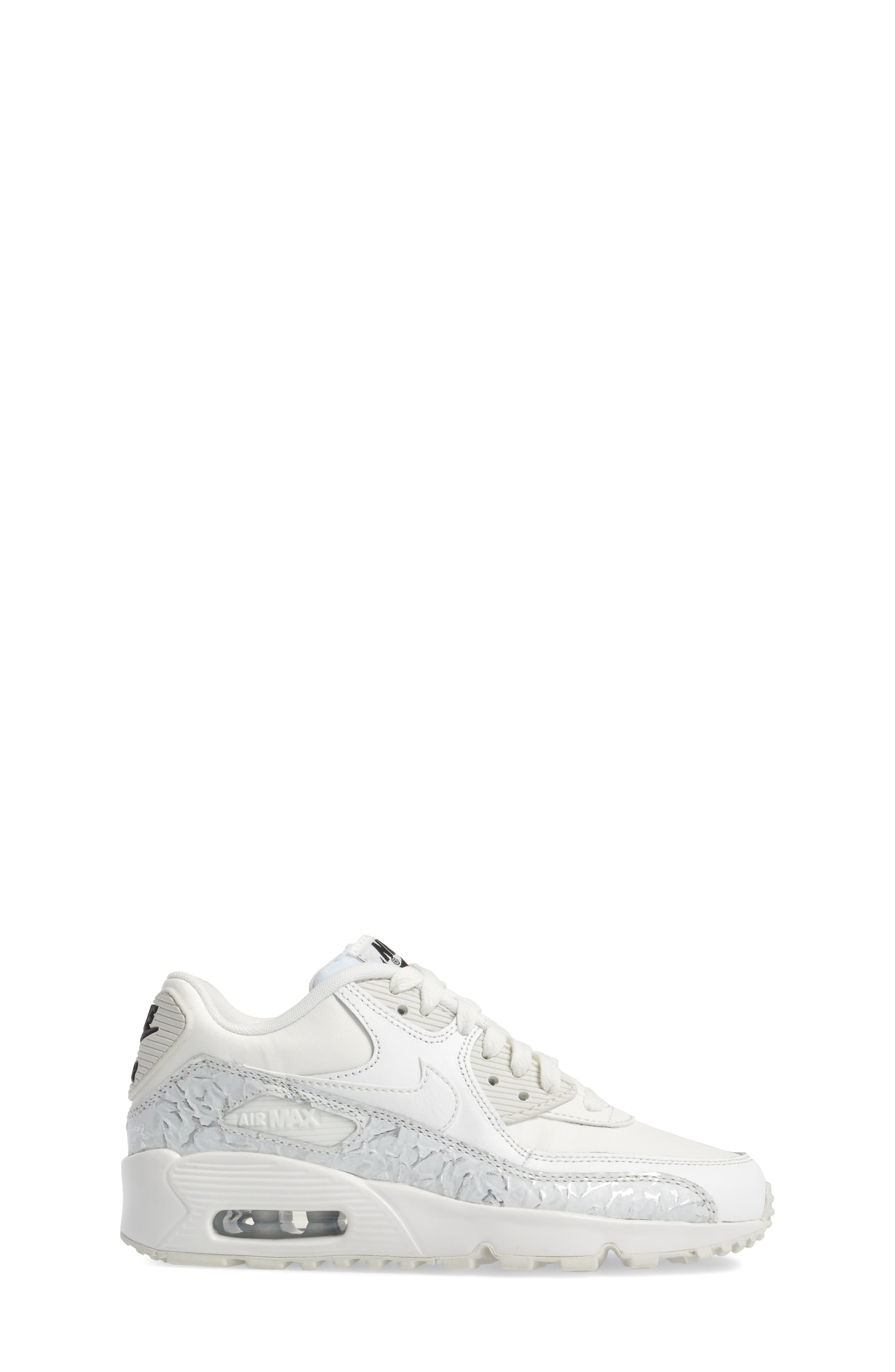 Air Max 90 Leather Sneaker,                             Alternate thumbnail 3, color,                             Summit White/ Black