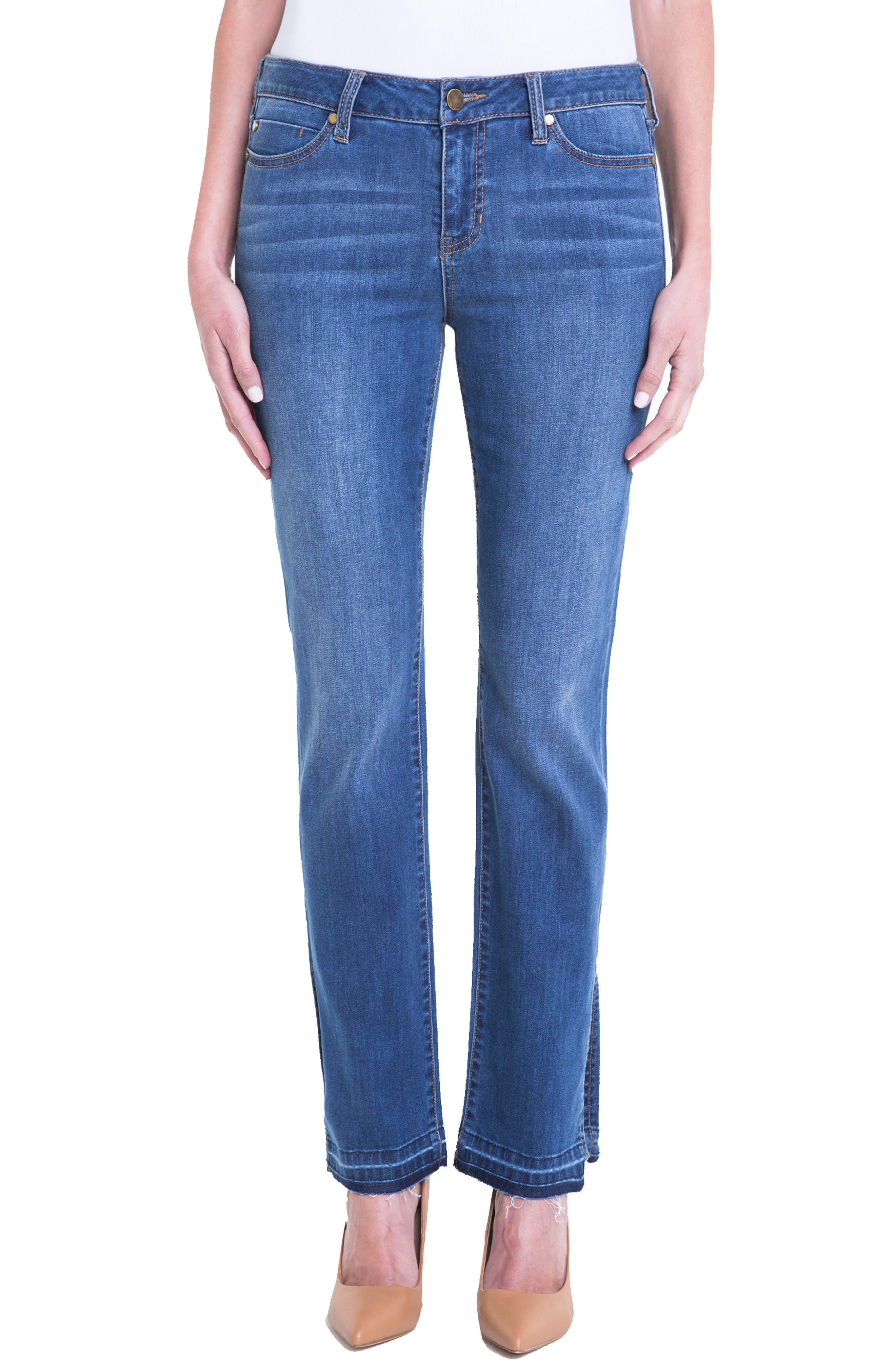 Alternate Image 1 Selected - Liverpool Jeans Company Tabitha Release Hem Straight Leg Jeans (Montauck Mid)