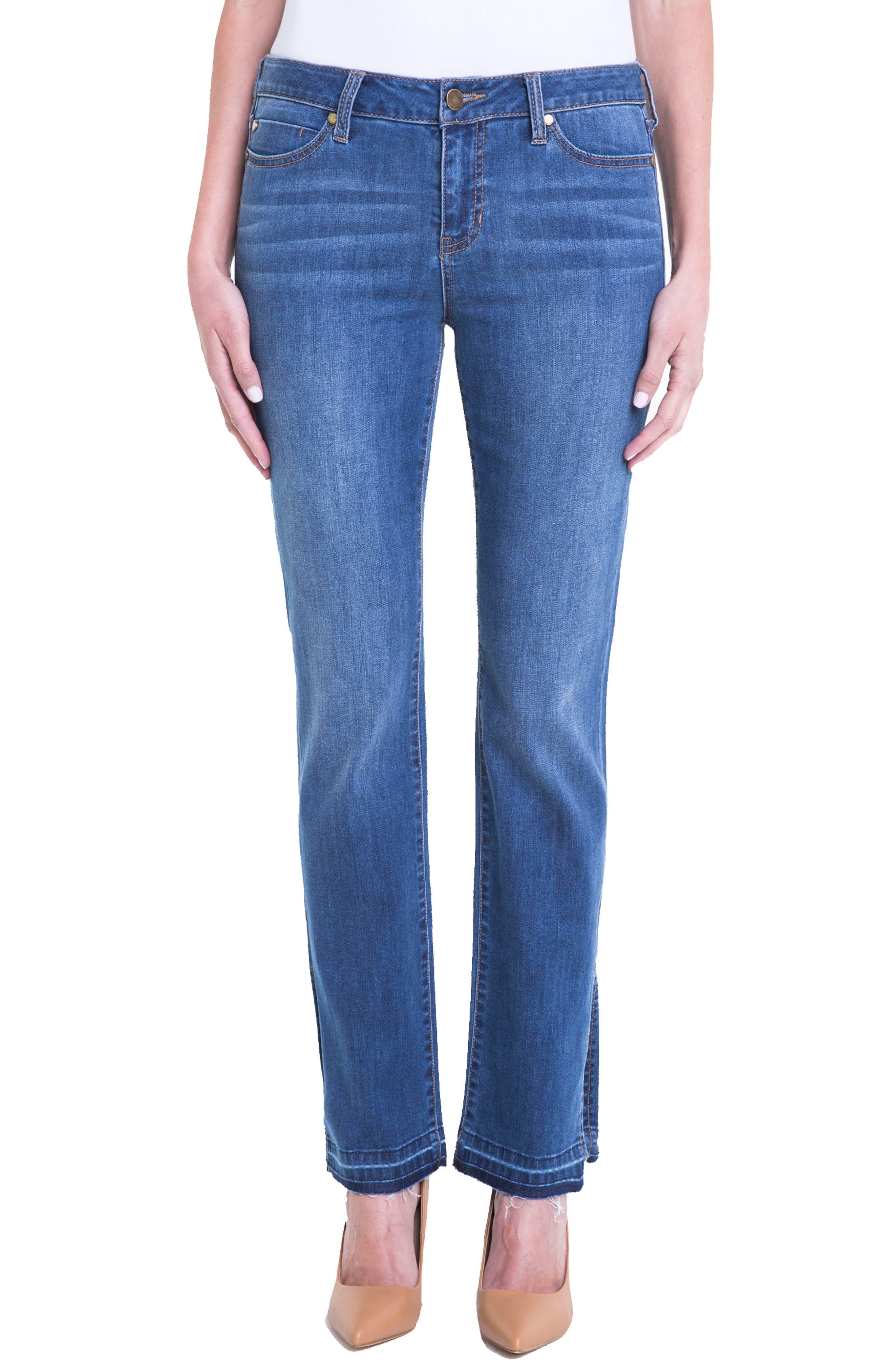 Tabitha Release Hem Straight Leg Jeans,                         Main,                         color, Montauck Mid Blue