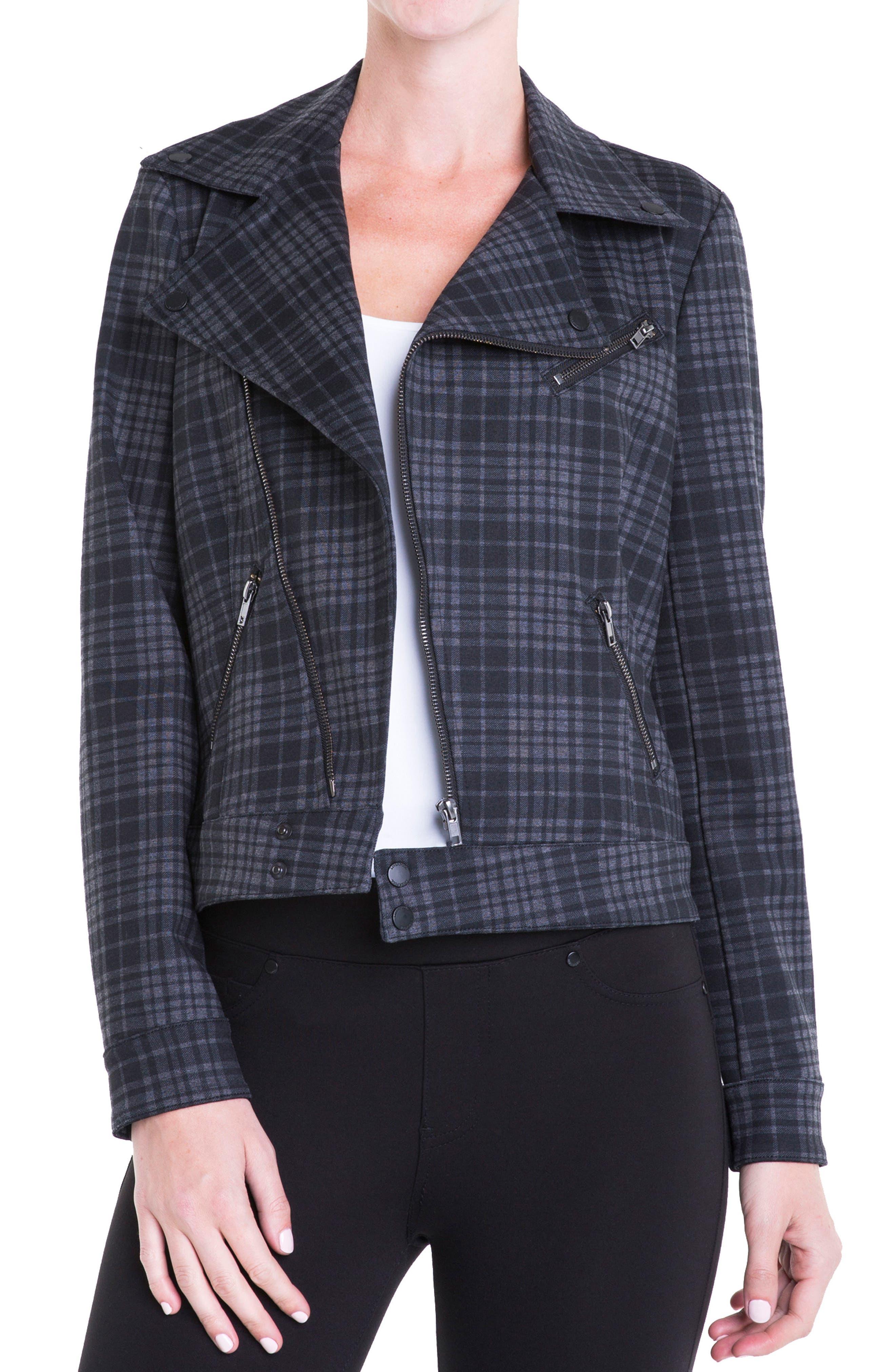 Alternate Image 1 Selected - Liverpool Jeans Company Plaid Moto Jacket