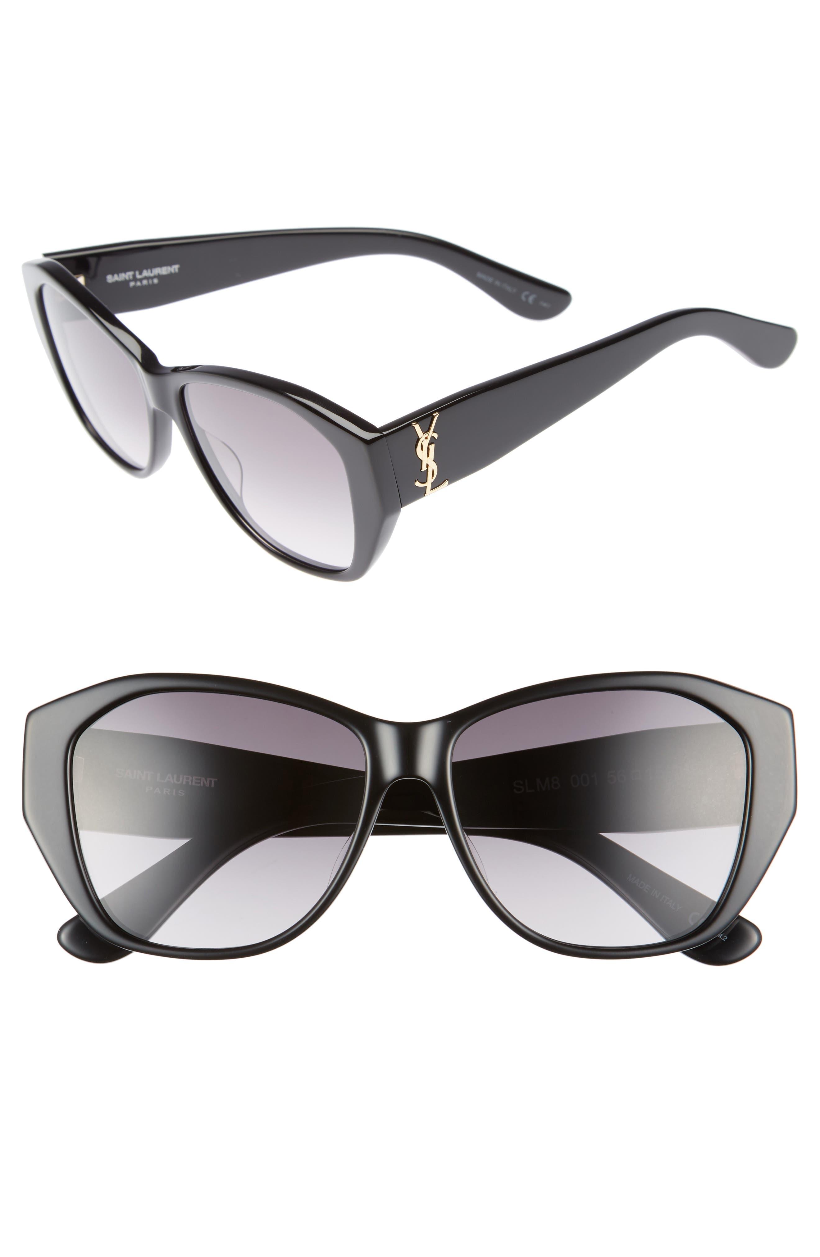 56mm Sunglasses,                             Main thumbnail 1, color,                             Black/ Black/ Grey