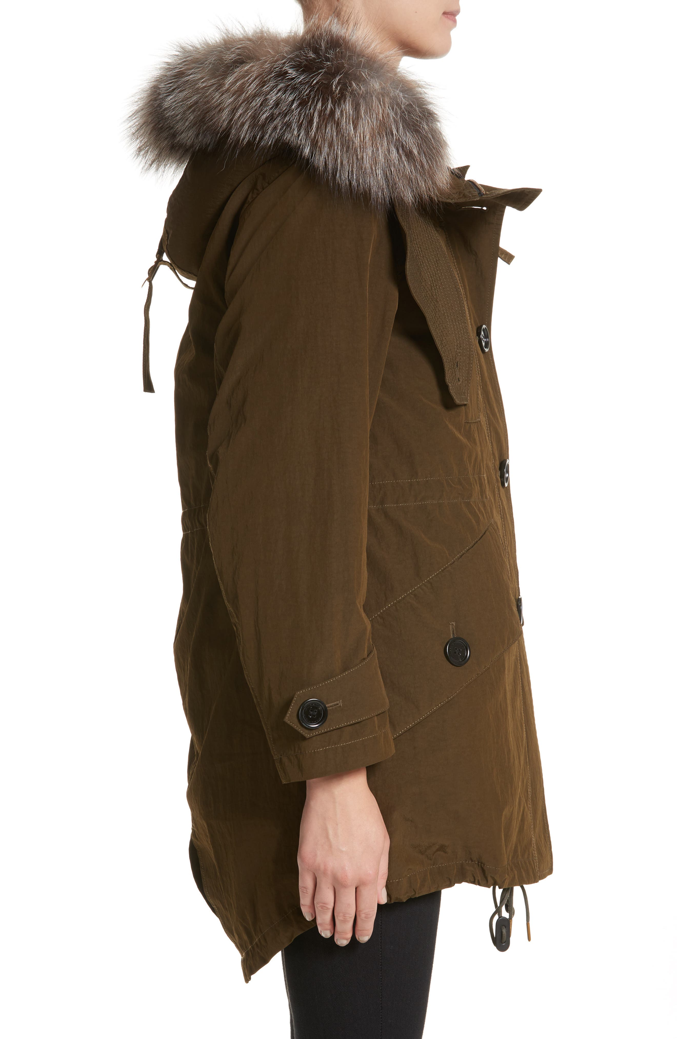 Ramsford 3-in-1 Hooded Parka with Genuine Fox Fur & Genuine Shearling Trim,                             Alternate thumbnail 4, color,                             Dark Olive