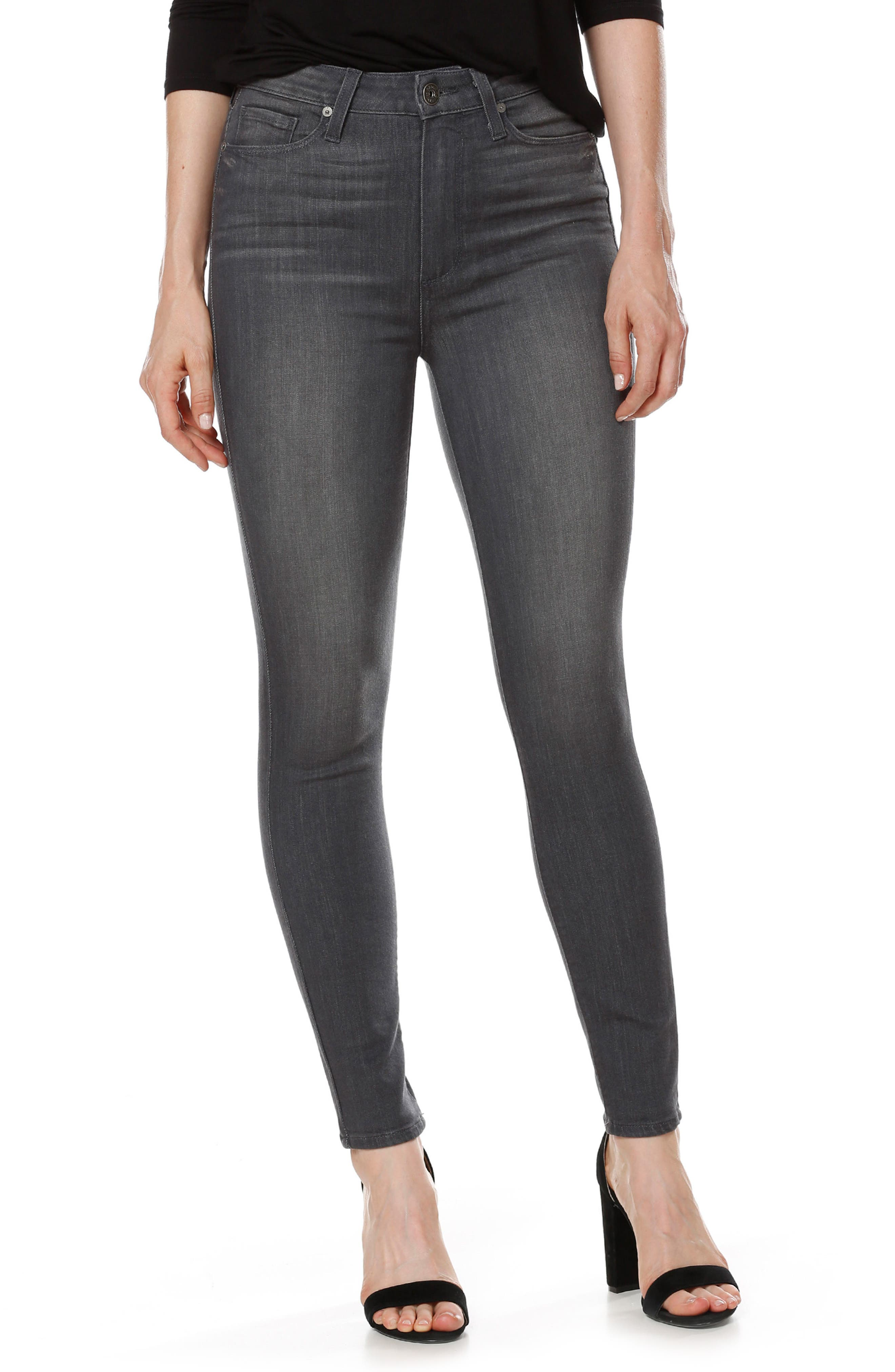 Main Image - PAIGE Transcend - Margot High Waist Ankle Ultra Skinny Jeans (Summit Grey)