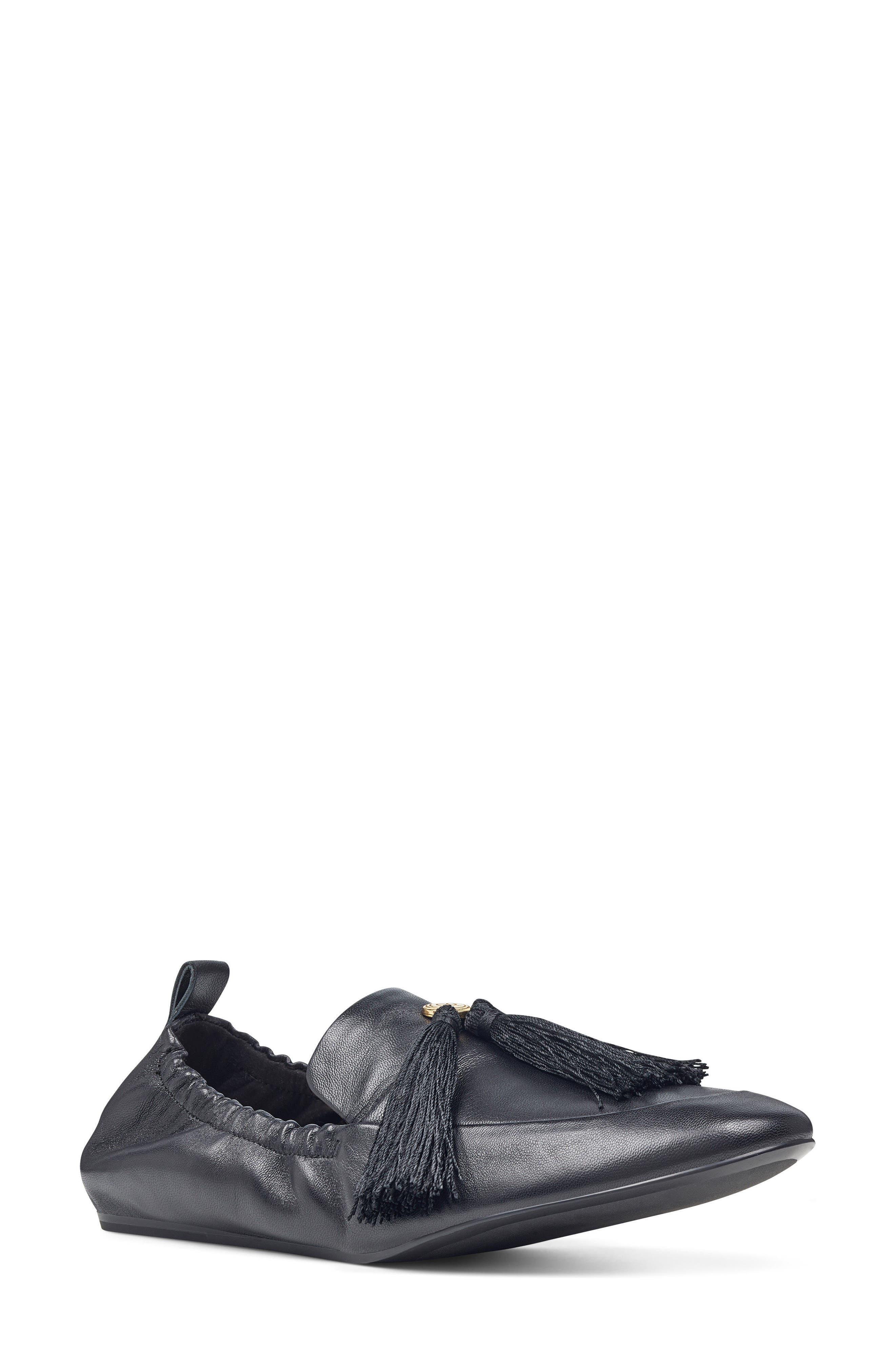 Ballard Tassel Loafer Flat,                         Main,                         color, Black Leather