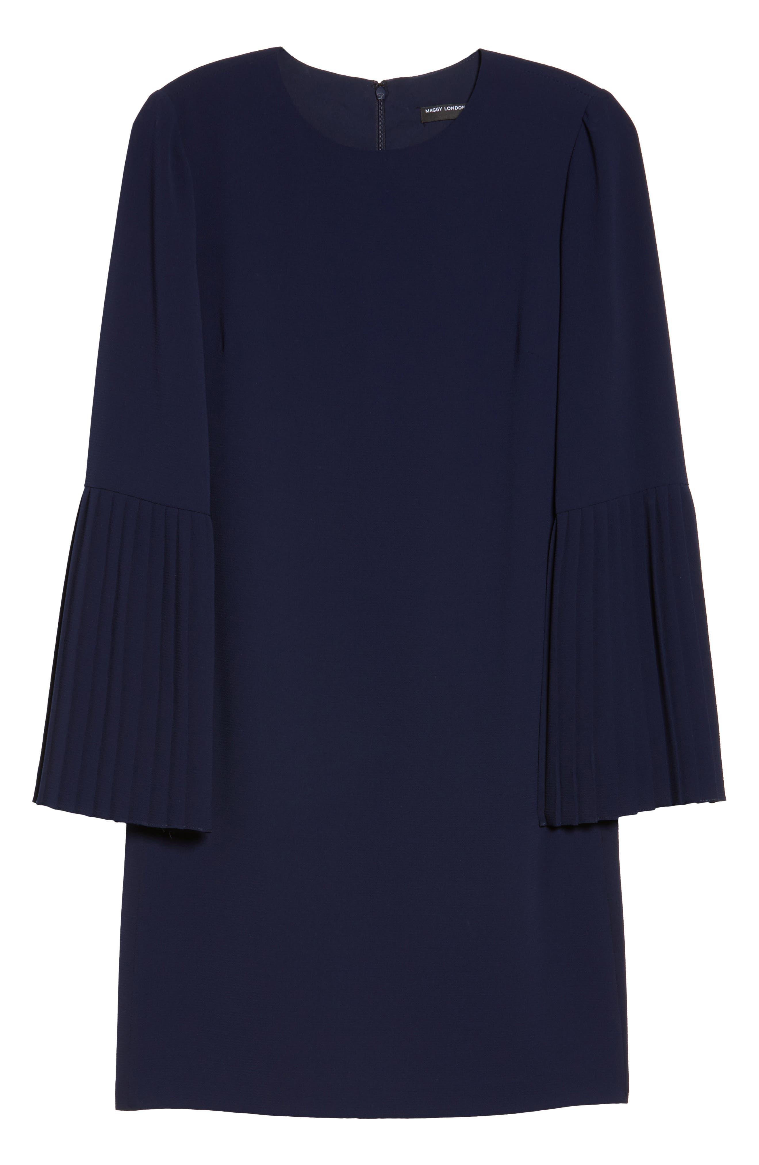 Bell Sleeve Shift Dress,                             Alternate thumbnail 6, color,                             Galaxy Blue