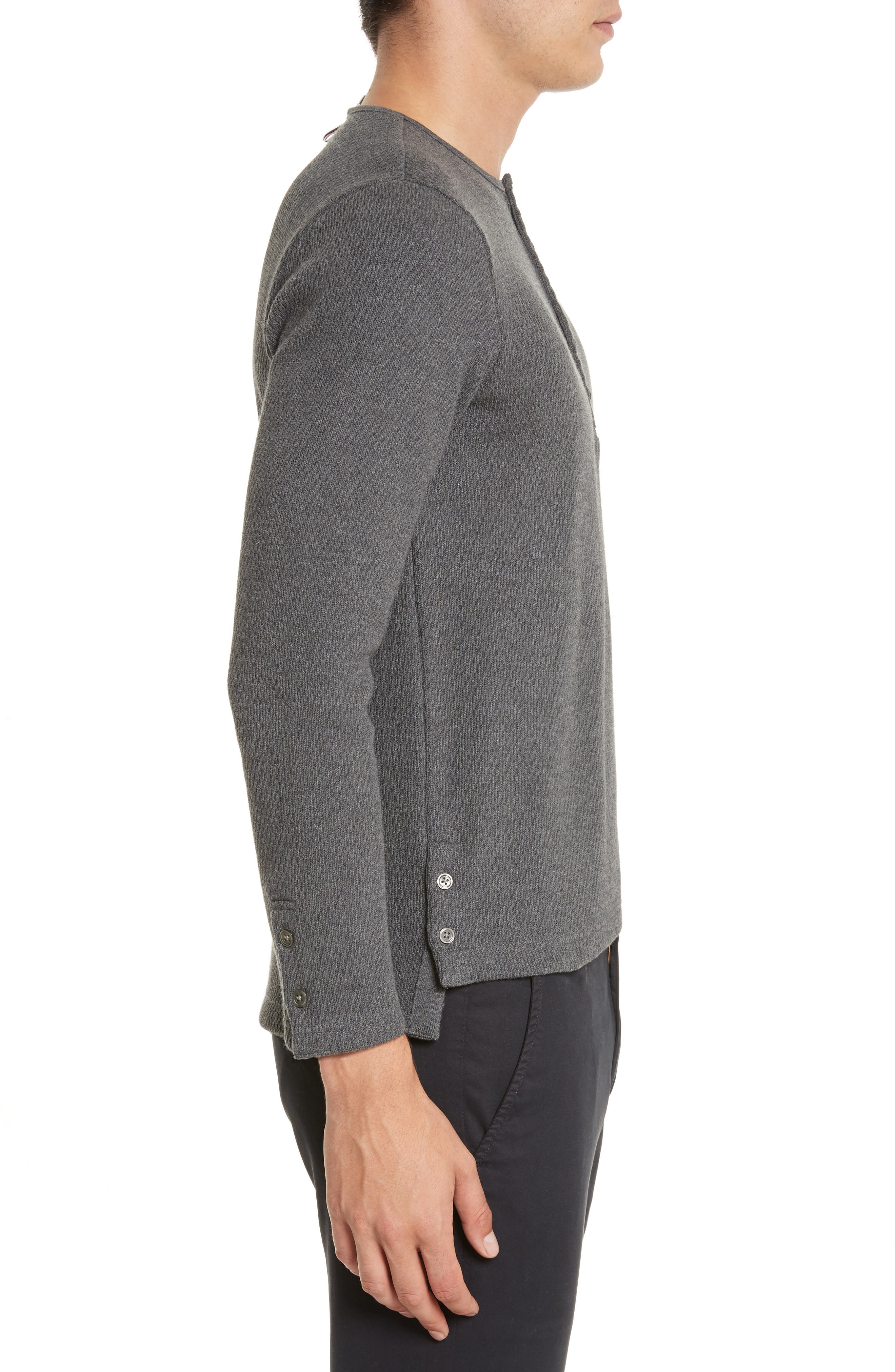 Knit Cotton Henley,                             Alternate thumbnail 3, color,                             Dark Grey