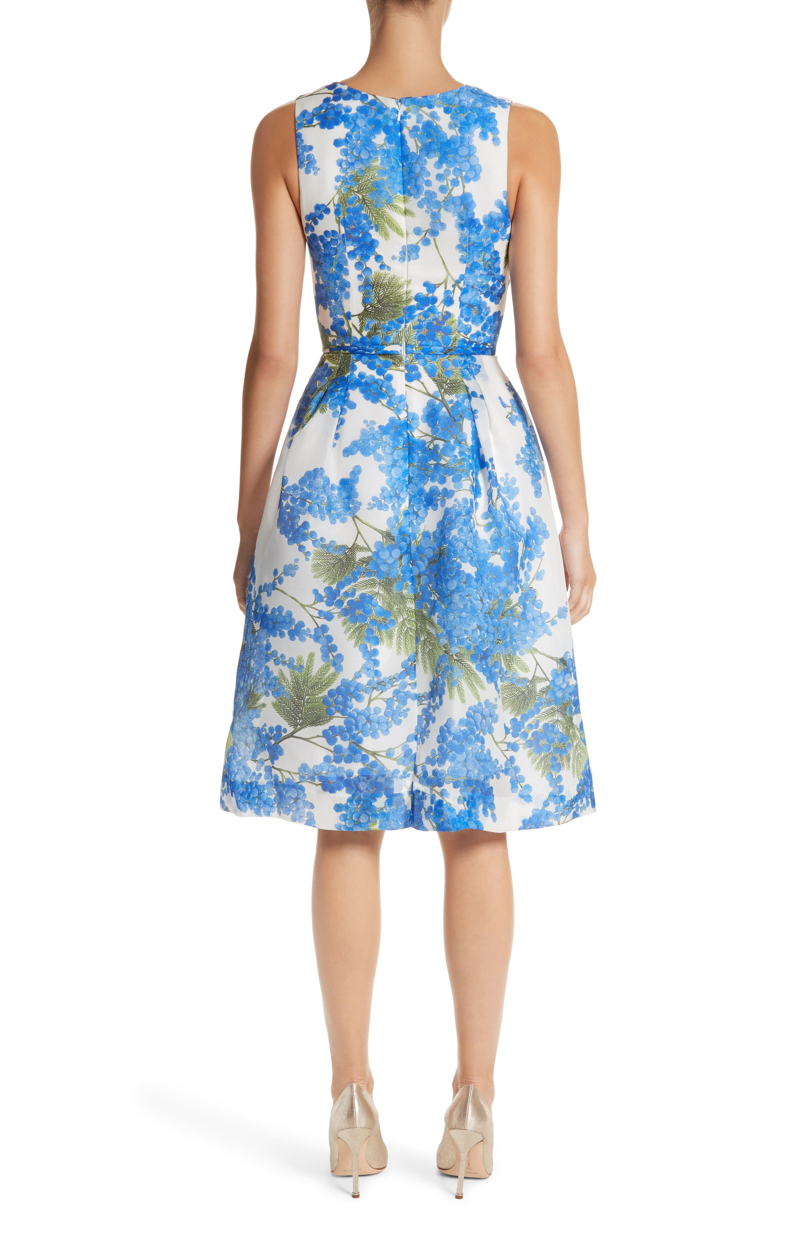 Floral Fit & Flare Dress,                             Alternate thumbnail 2, color,                             Colbalt/White