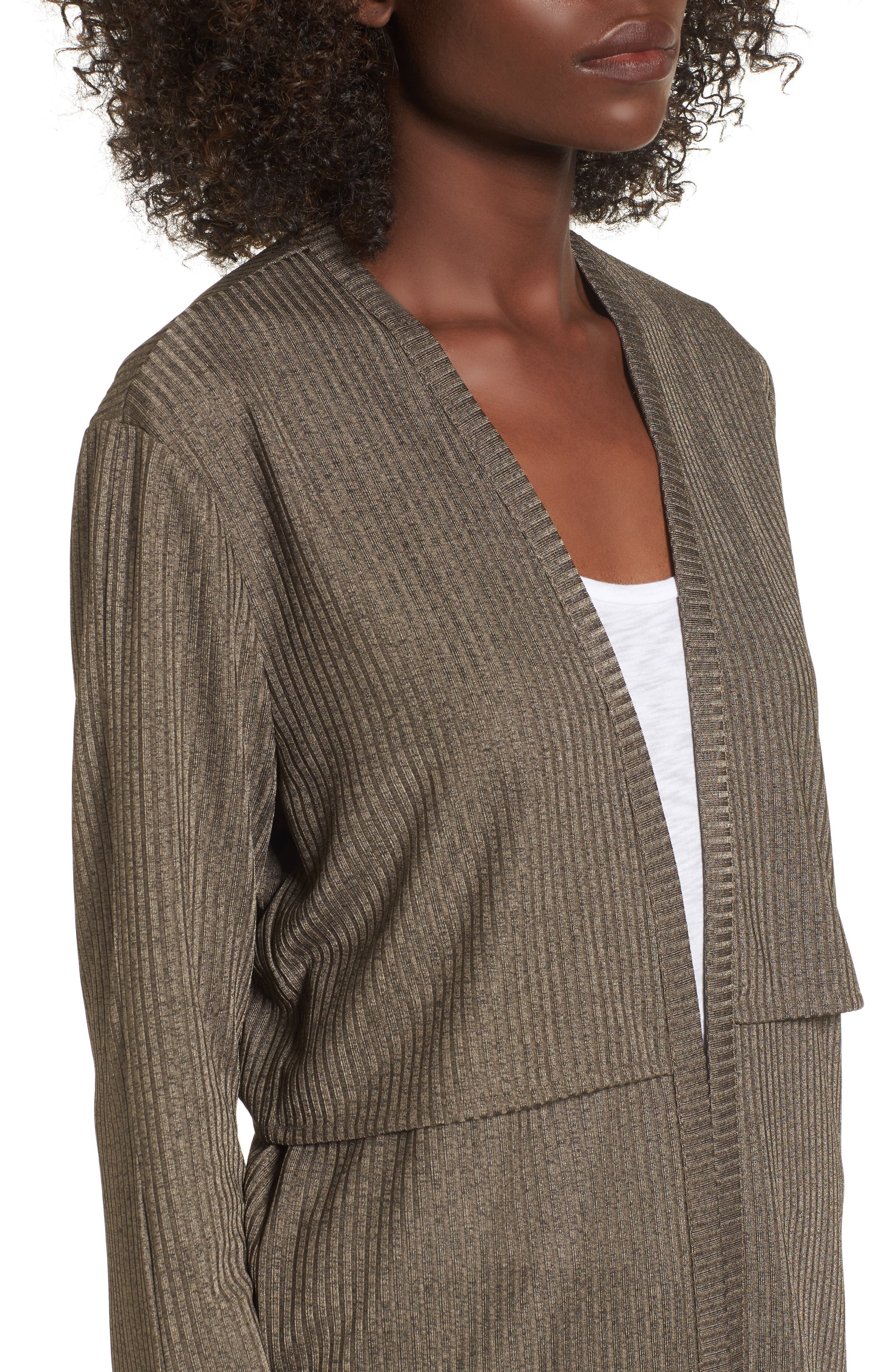 Casey Open Front Cardigan,                             Alternate thumbnail 4, color,                             Deep Army Melange