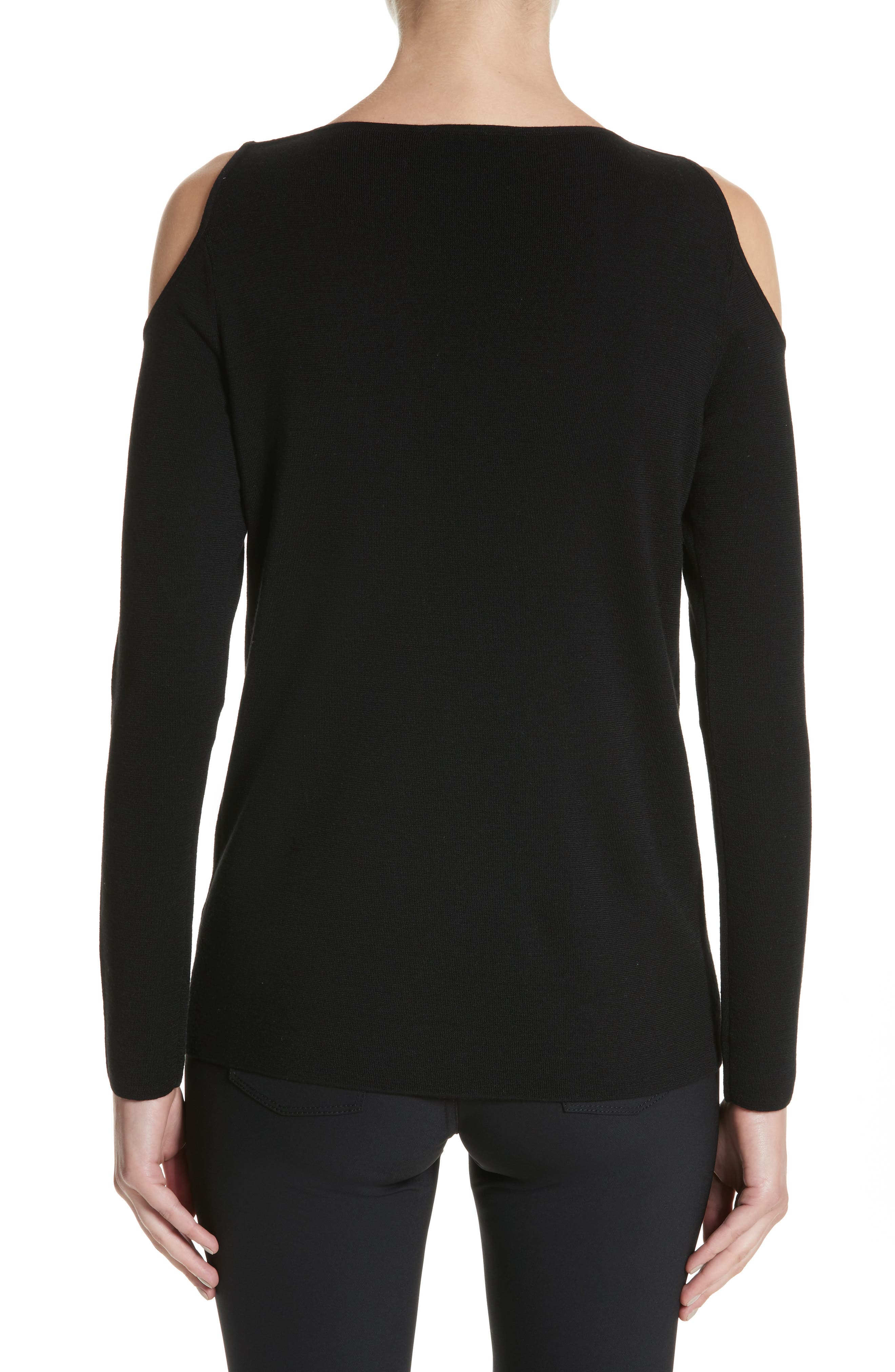 Alternate Image 2  - Lafayette 148 New York Wool Cold Shoulder Sweater