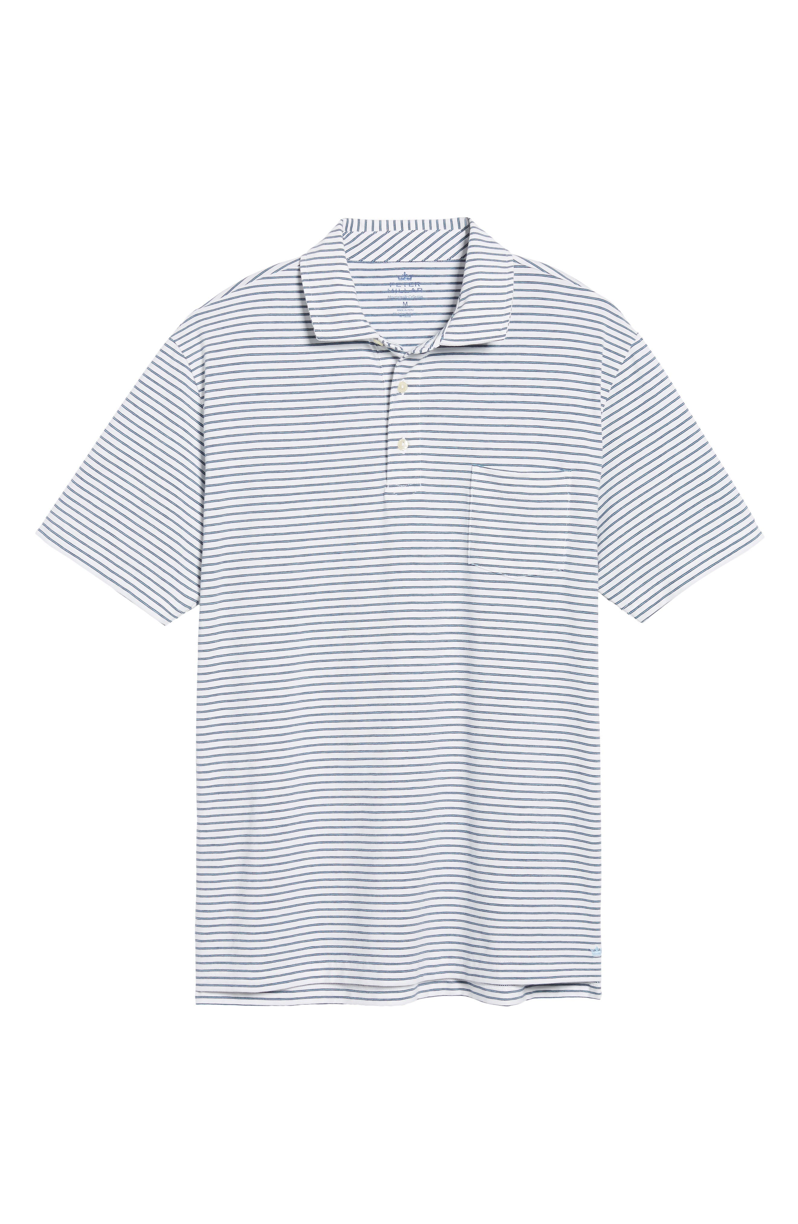 Stratton Mountainside Stripe Jersey Polo,                             Alternate thumbnail 5, color,                             White