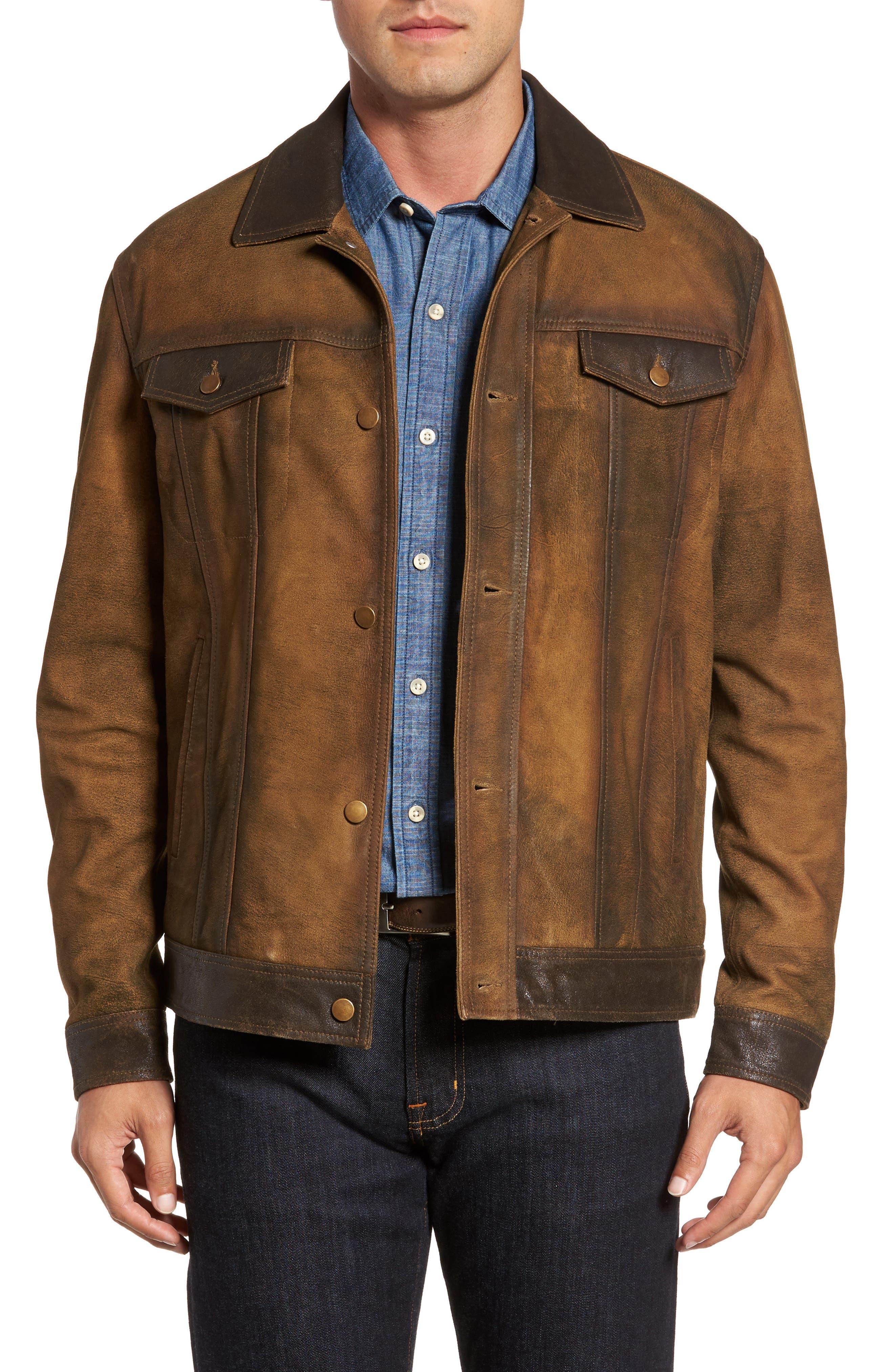 Alternate Image 1 Selected - FLYNT Distressed Leather Trucker Jacket