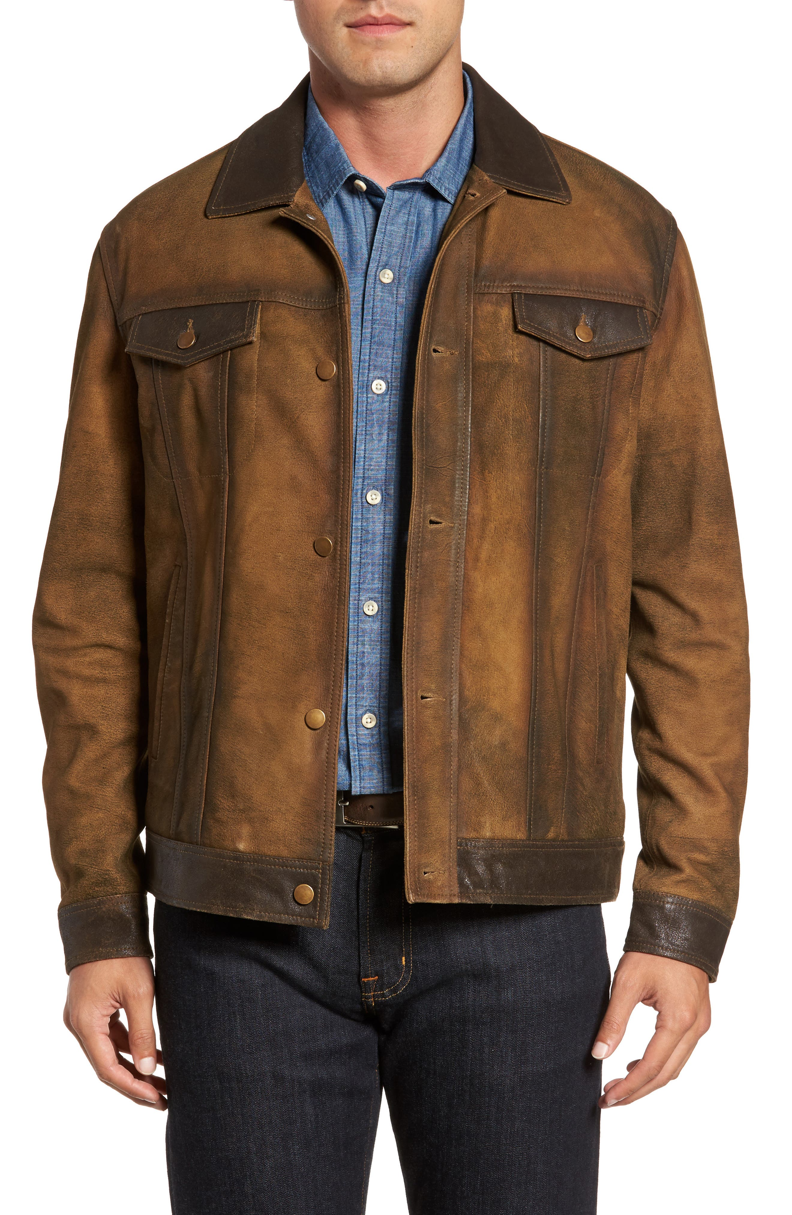 Distressed Leather Trucker Jacket,                         Main,                         color, Brown