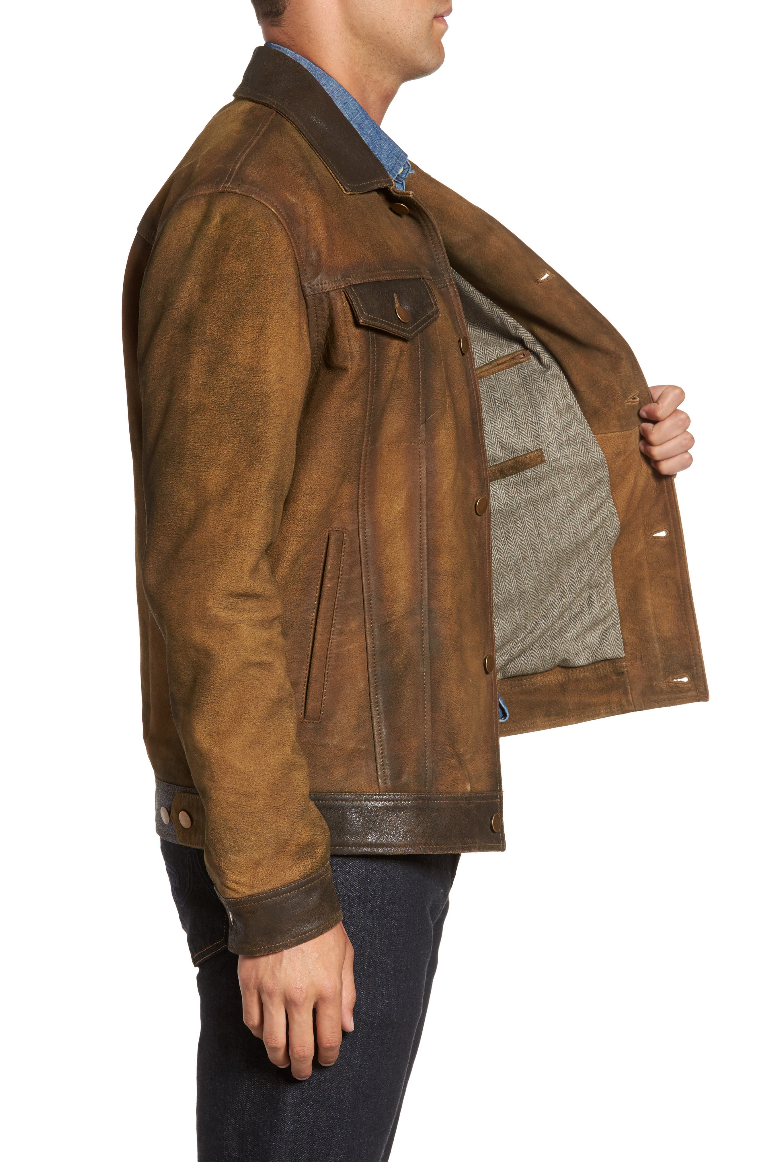 Distressed Leather Trucker Jacket,                             Alternate thumbnail 3, color,                             Brown