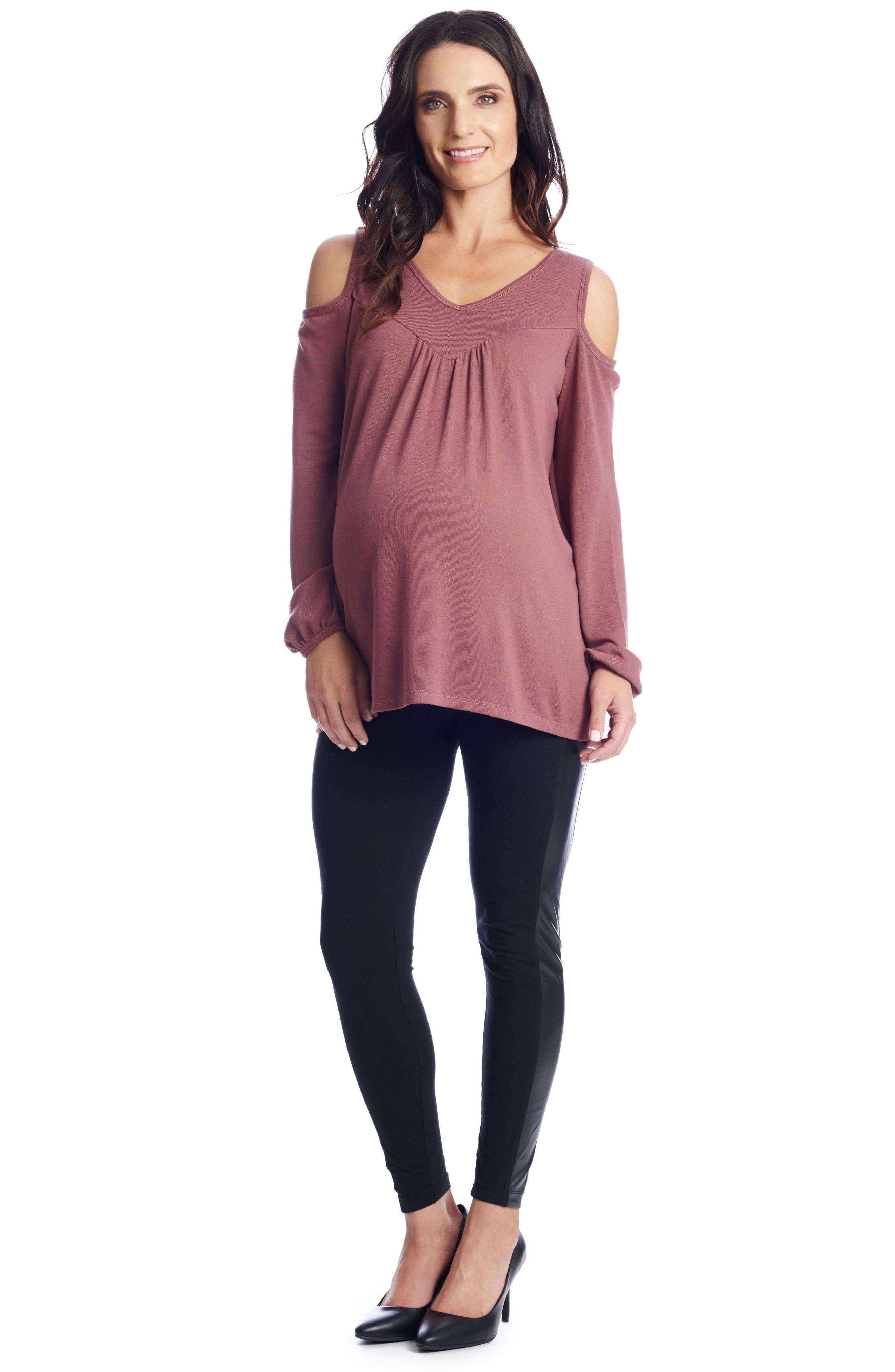 Alternate Image 2  - Everly Grey Nora Cold Shoulder Maternity Top