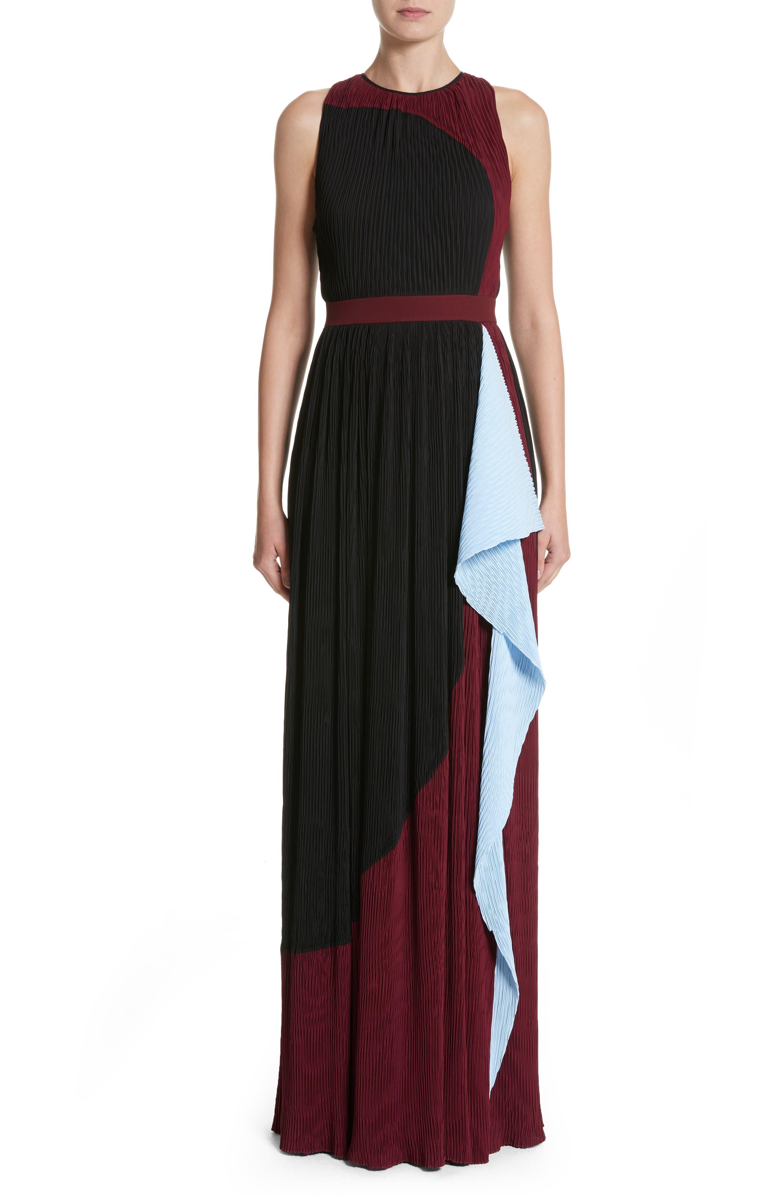 Milda Crystal Pleat Dress,                         Main,                         color, Black/Chestnut/Sky