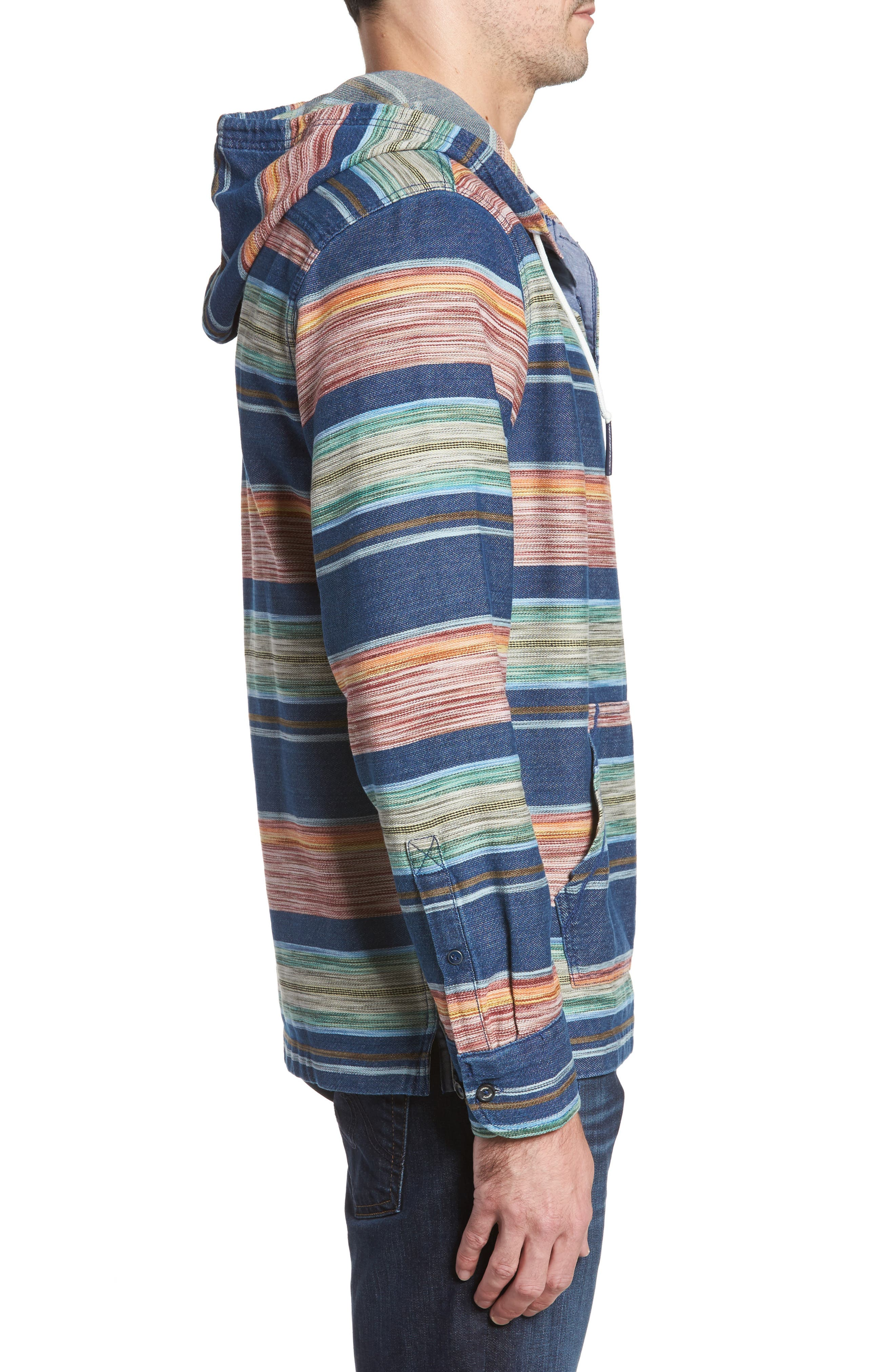 Bahia Baja Stripe Hoodie,                             Alternate thumbnail 3, color,                             Bering Blue