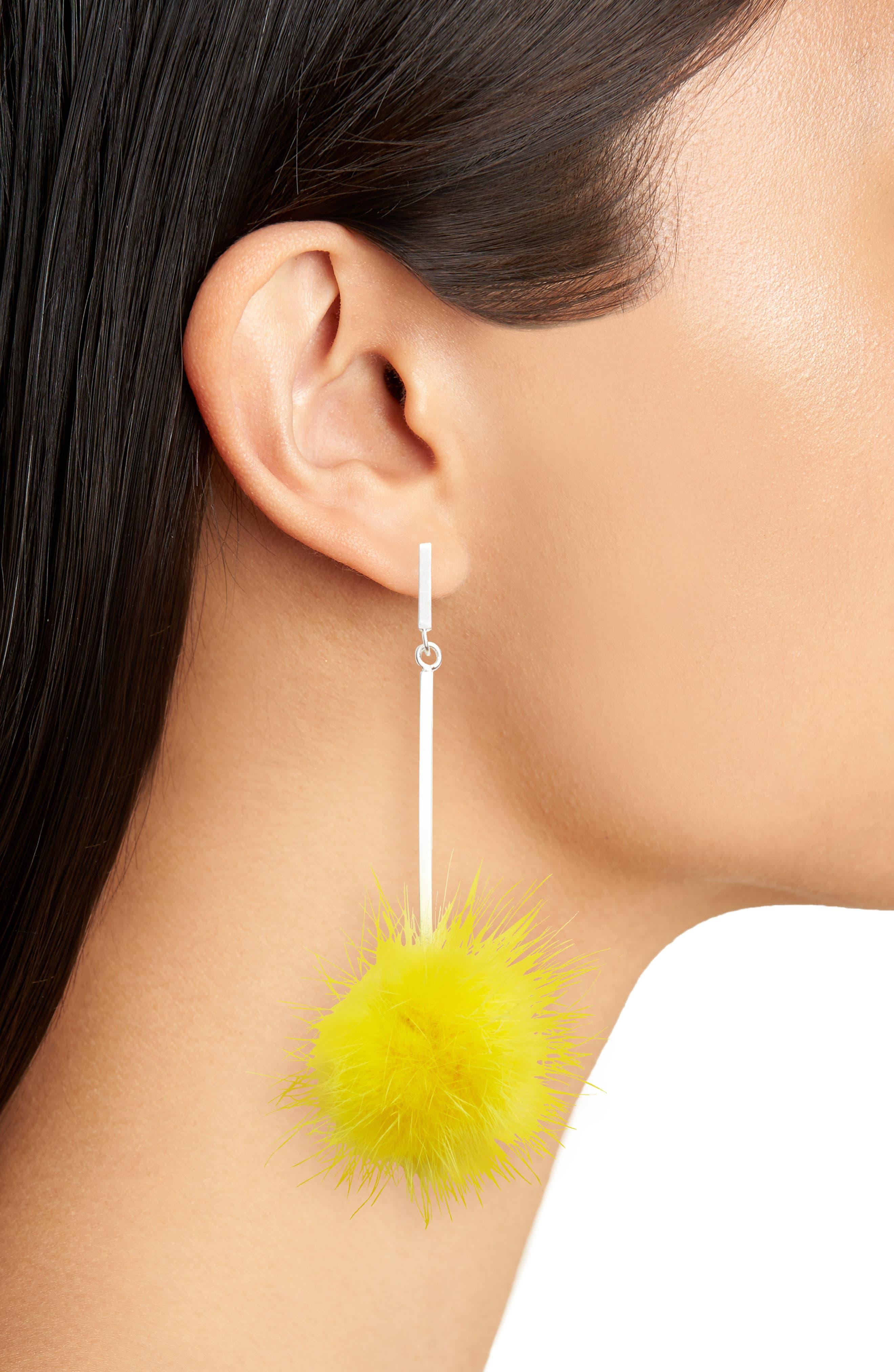 Genuine Mink Fur Pompom Earrings,                             Alternate thumbnail 2, color,                             Silver/ Yellow