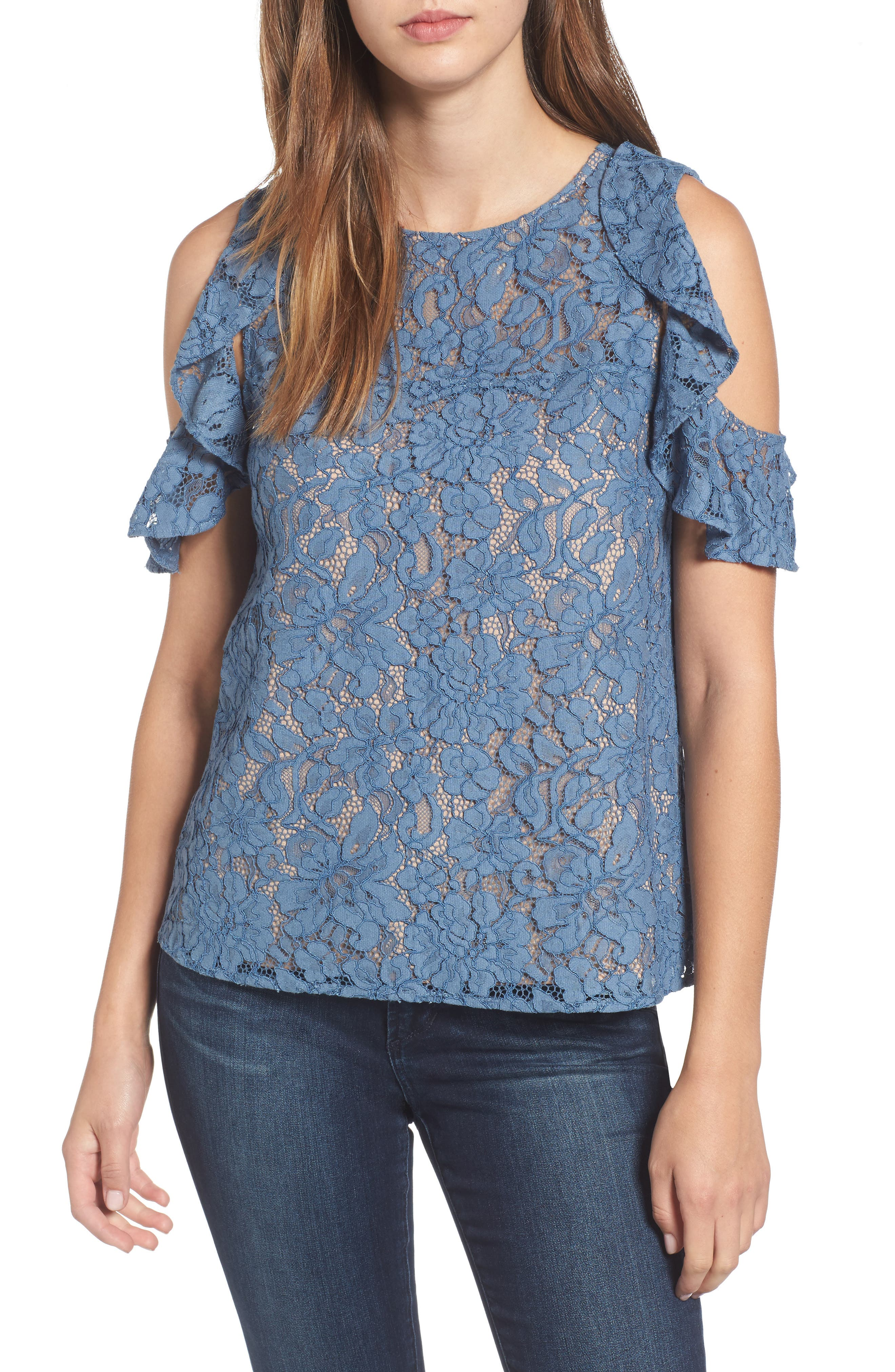 Wayf Ryder Ruffle Cold Shoulder Lace Top