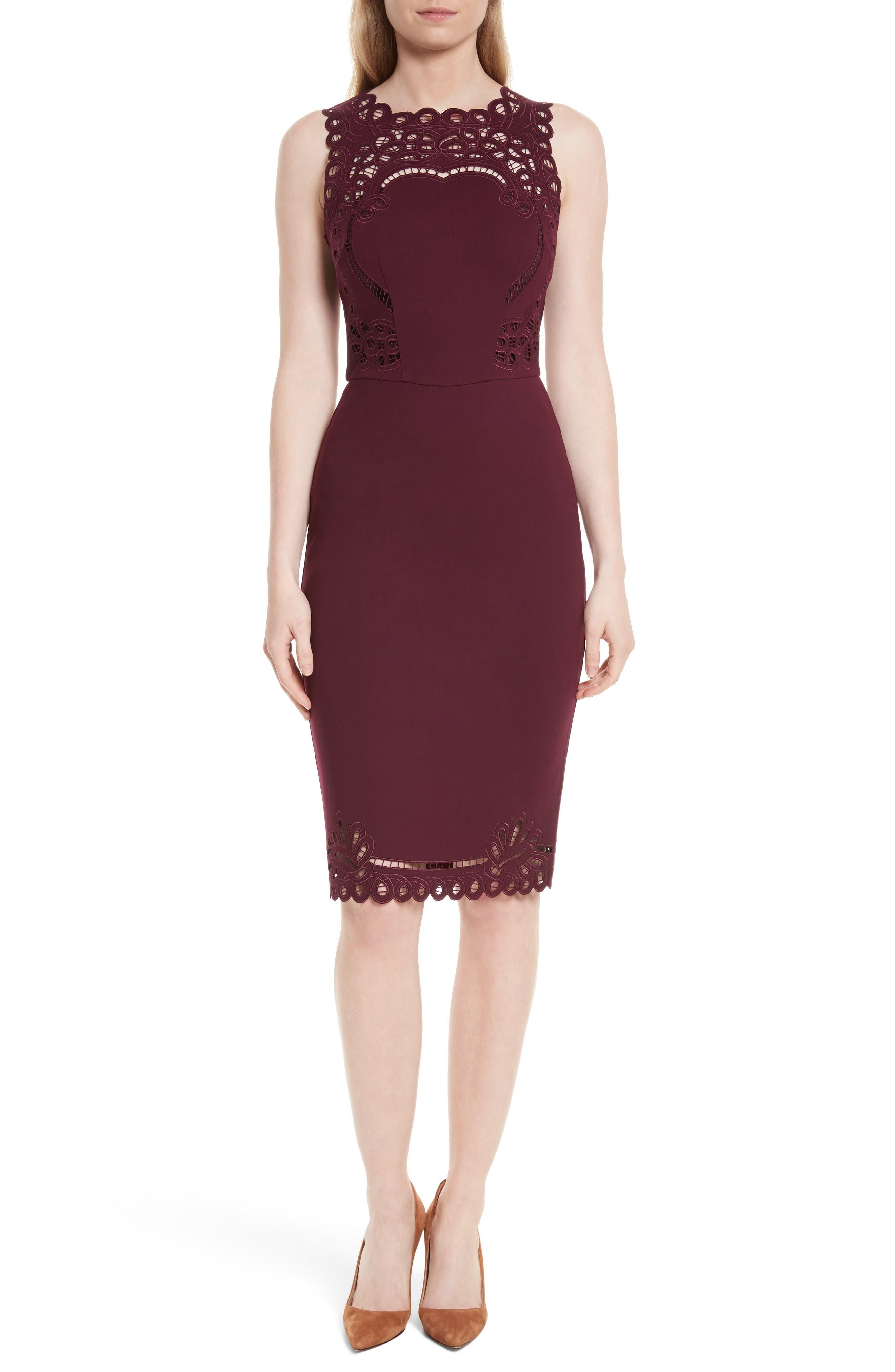 Verita Cutout Yoke Sheath Dress,                         Main,                         color, Maroon