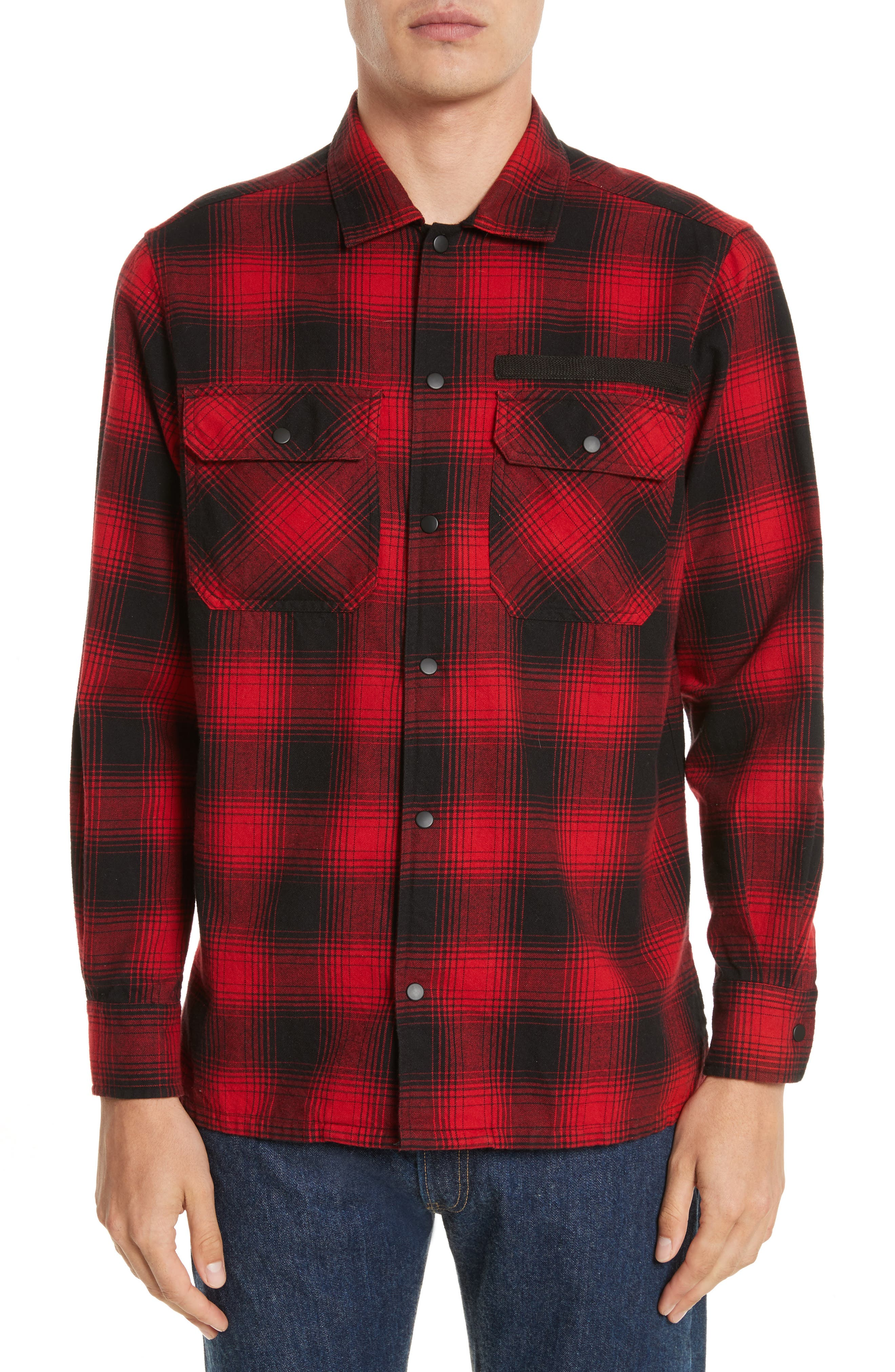 Plaid Flannel Shirt,                             Main thumbnail 1, color,                             Red Plaid