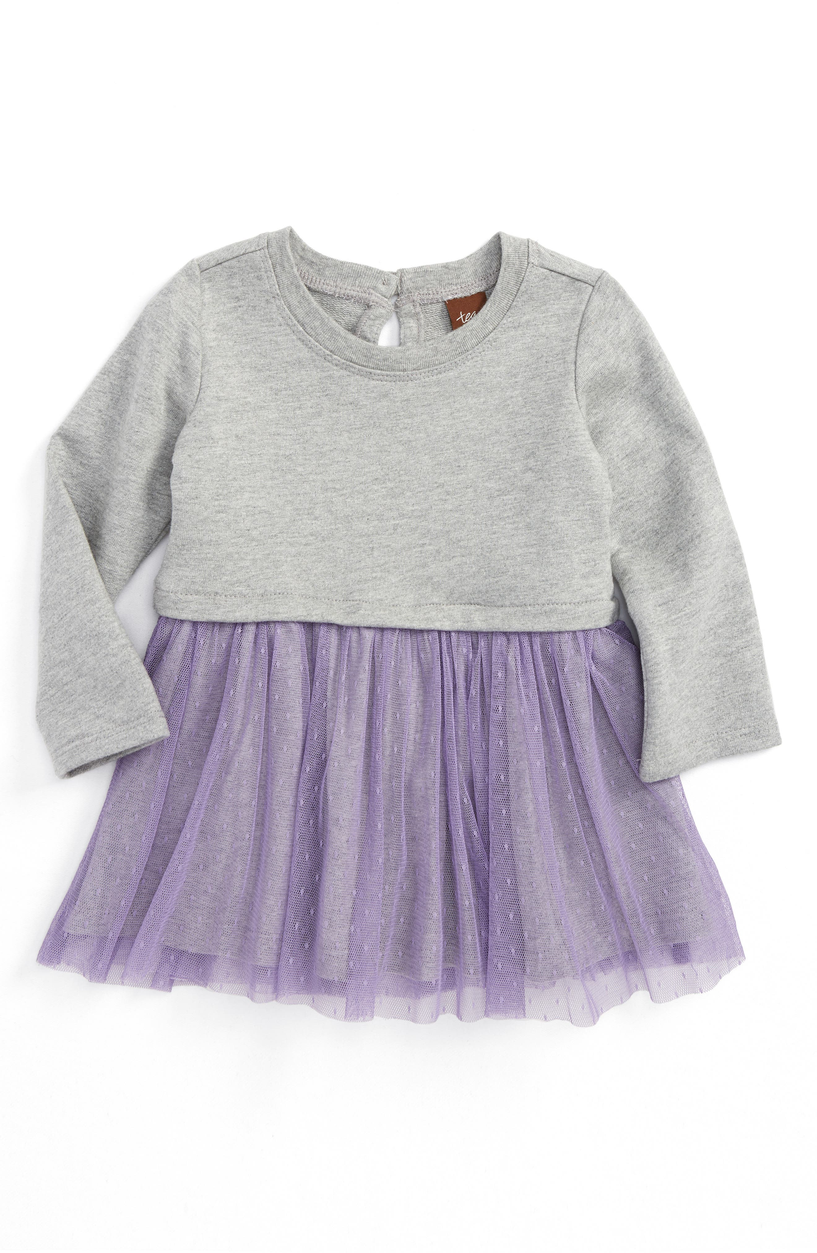 Tulle Skirted Dress,                             Main thumbnail 1, color,                             Med Heather Grey