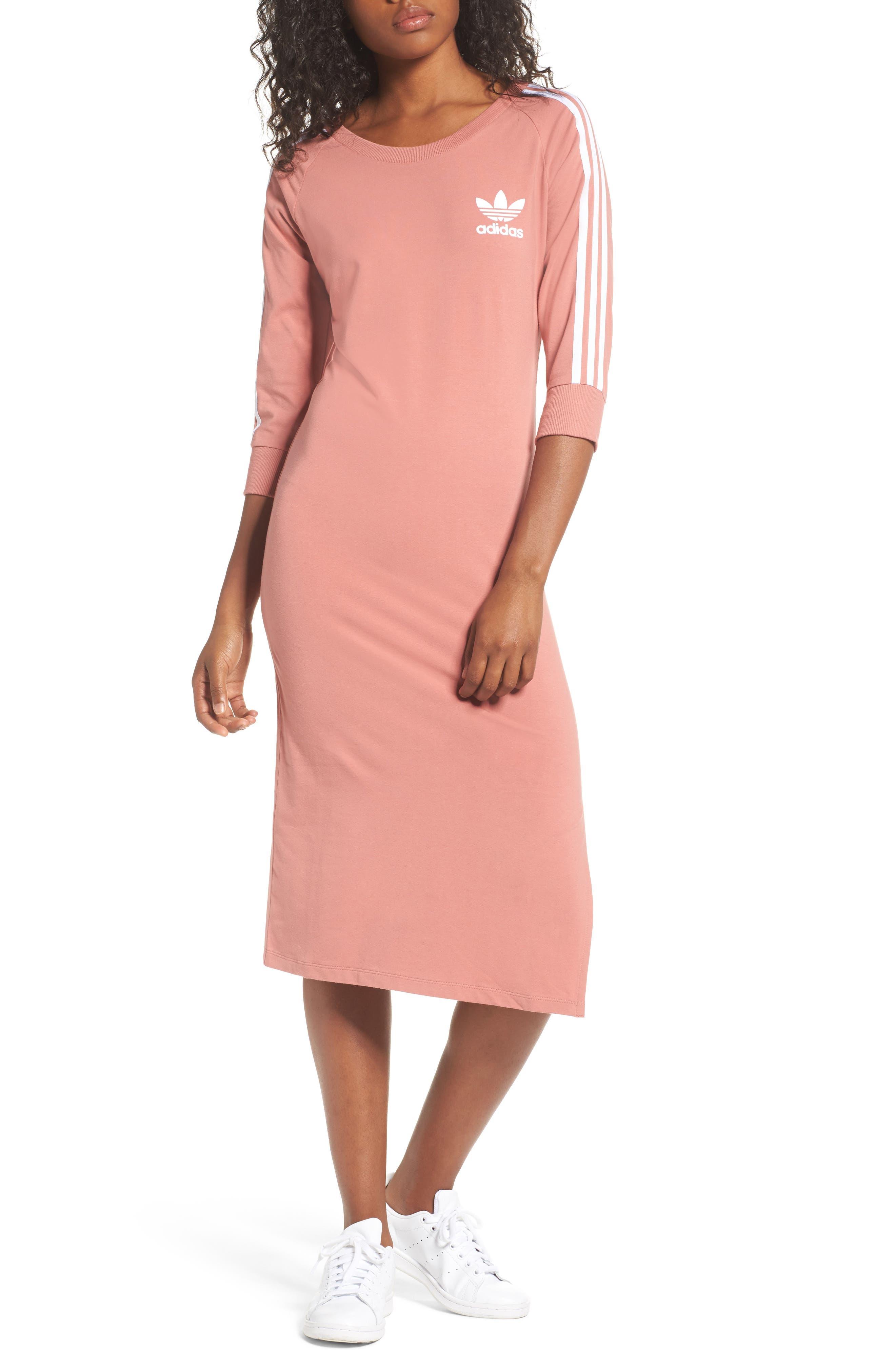 Originals 3-Stripes Dress,                         Main,                         color, Raw Pink