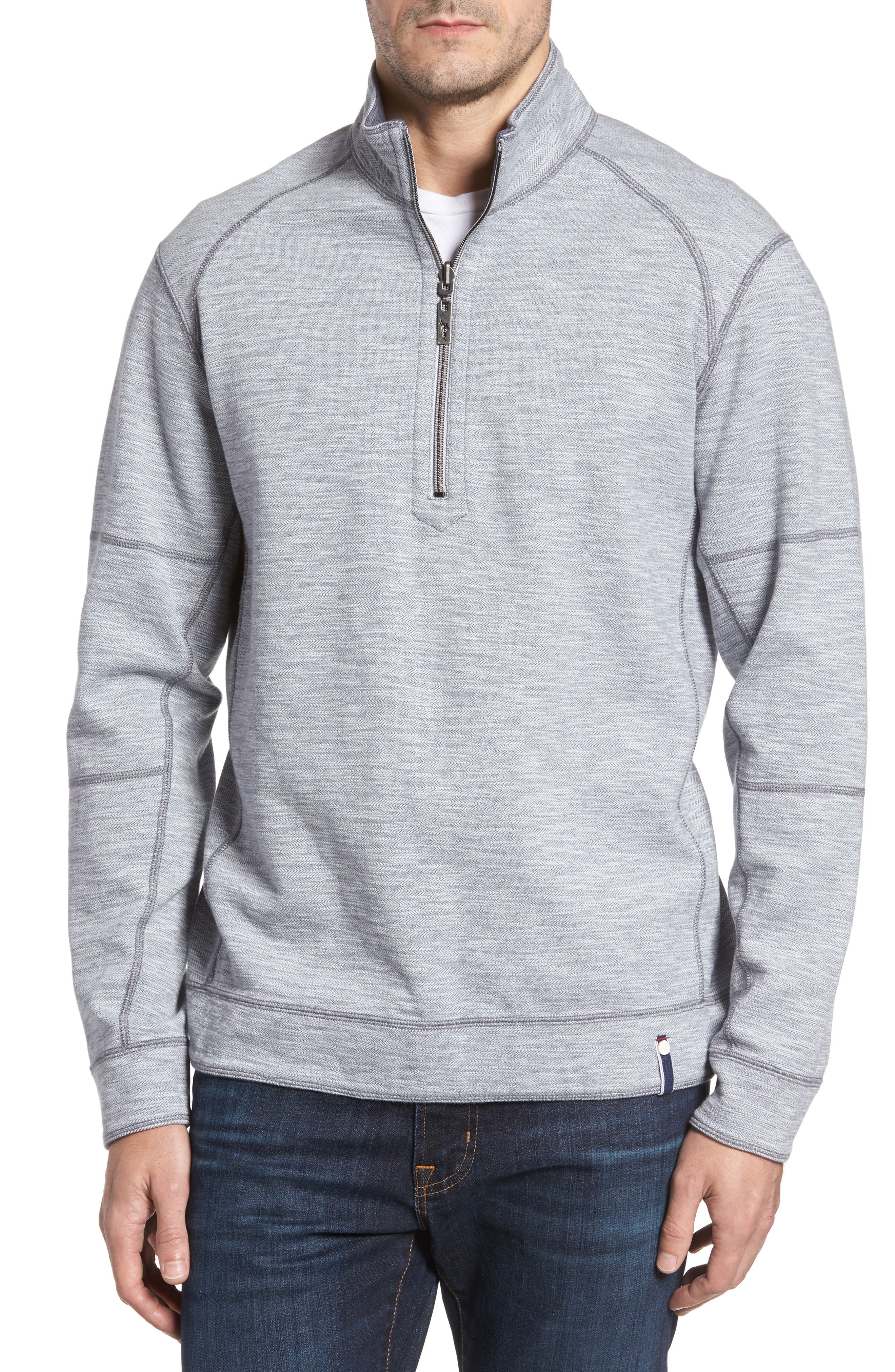 Alternate Image 1 Selected - Tommy Bahama Sandbar Slub Reversible Quarter Zip Pullover