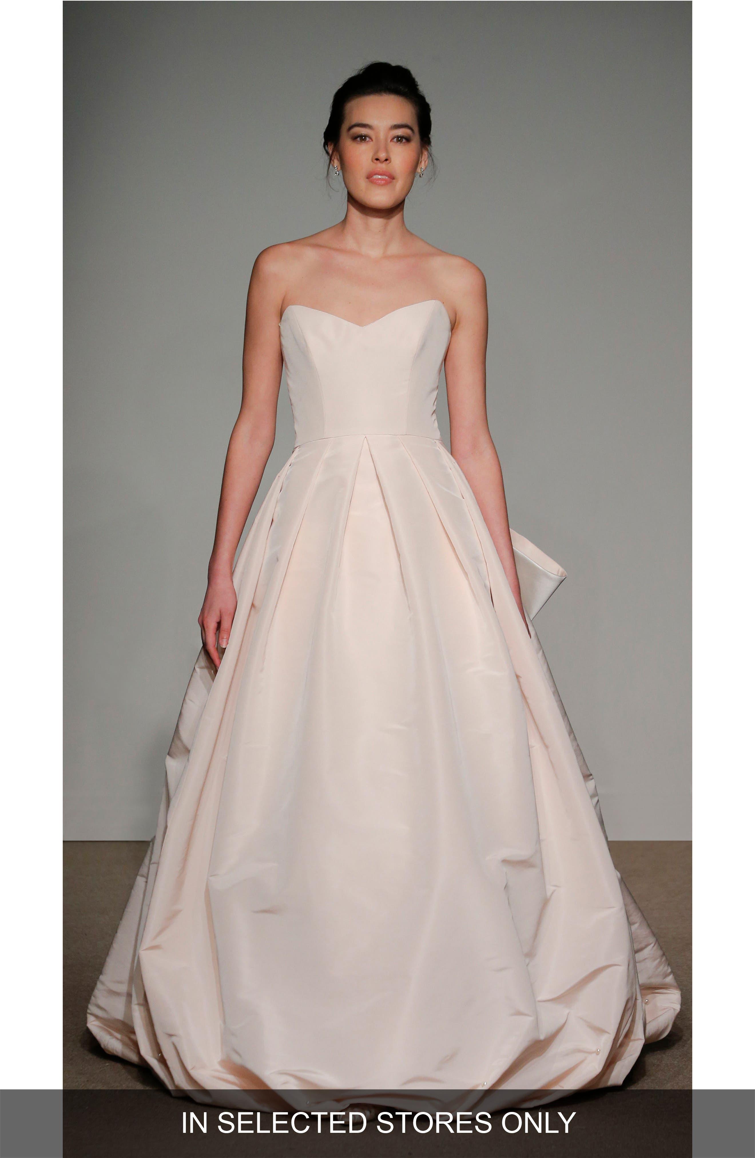 Cheri Bow Detail Strapless Faille Ballgown,                             Main thumbnail 1, color,                             Soft White