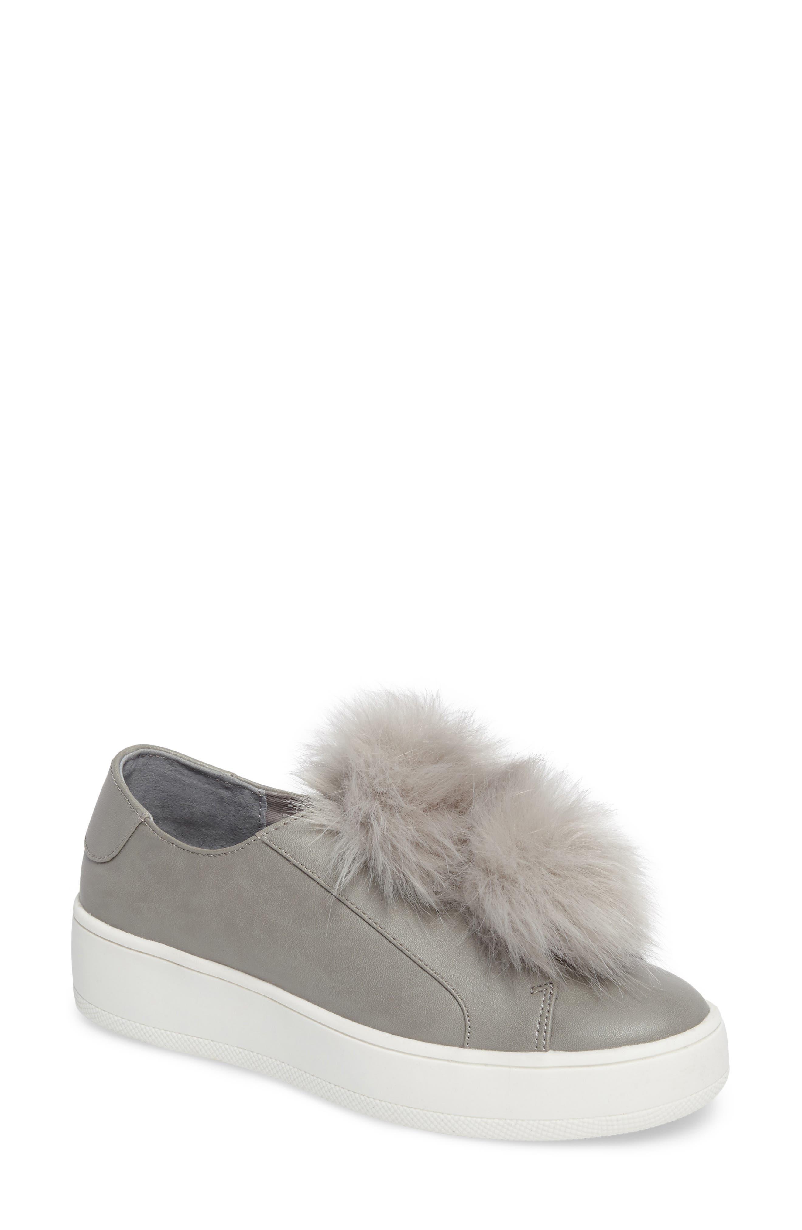 Breeze Faux Fur Pom Sneaker,                         Main,                         color, Grey