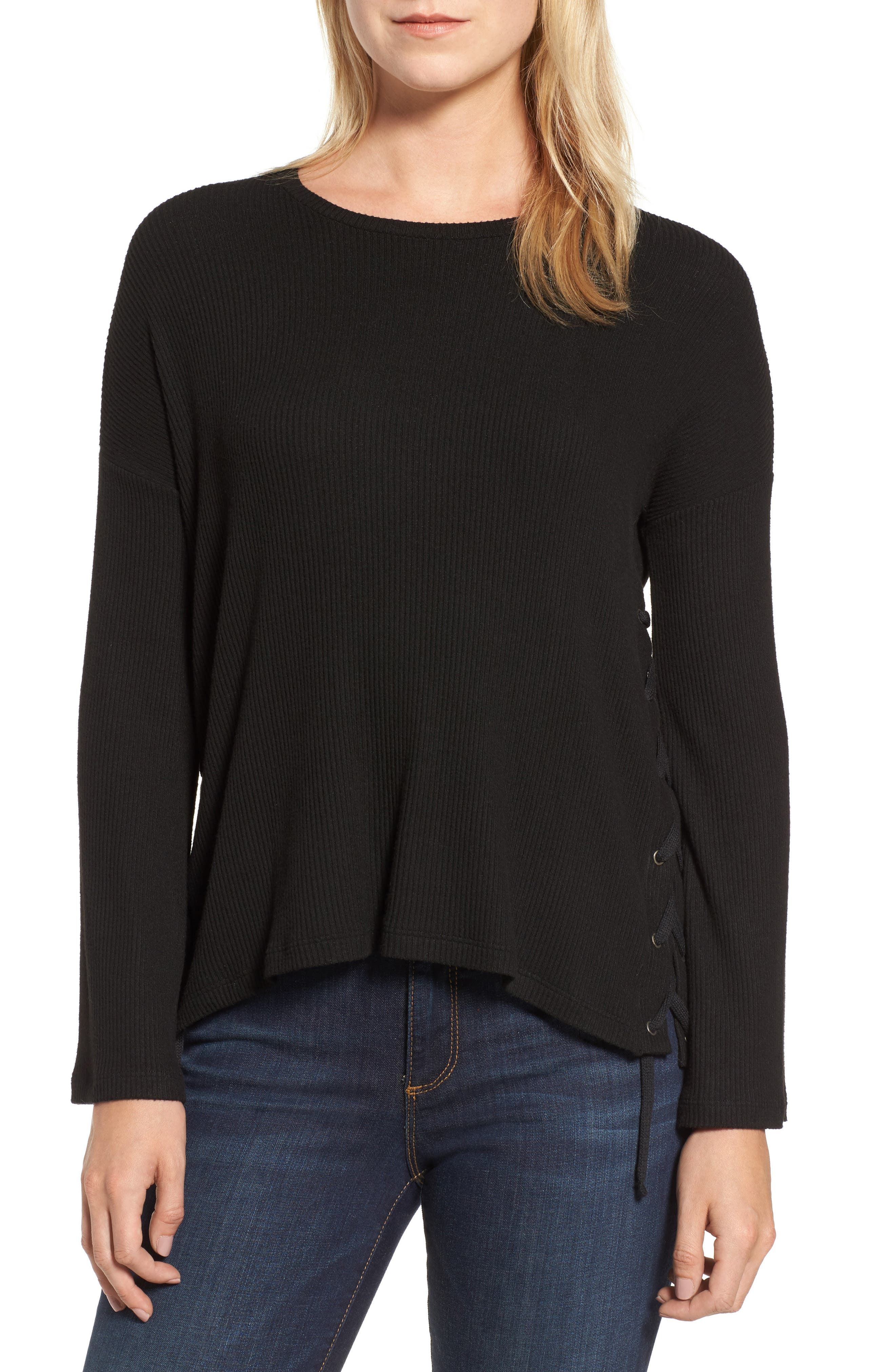 Lace-Up Pullover,                         Main,                         color, Black