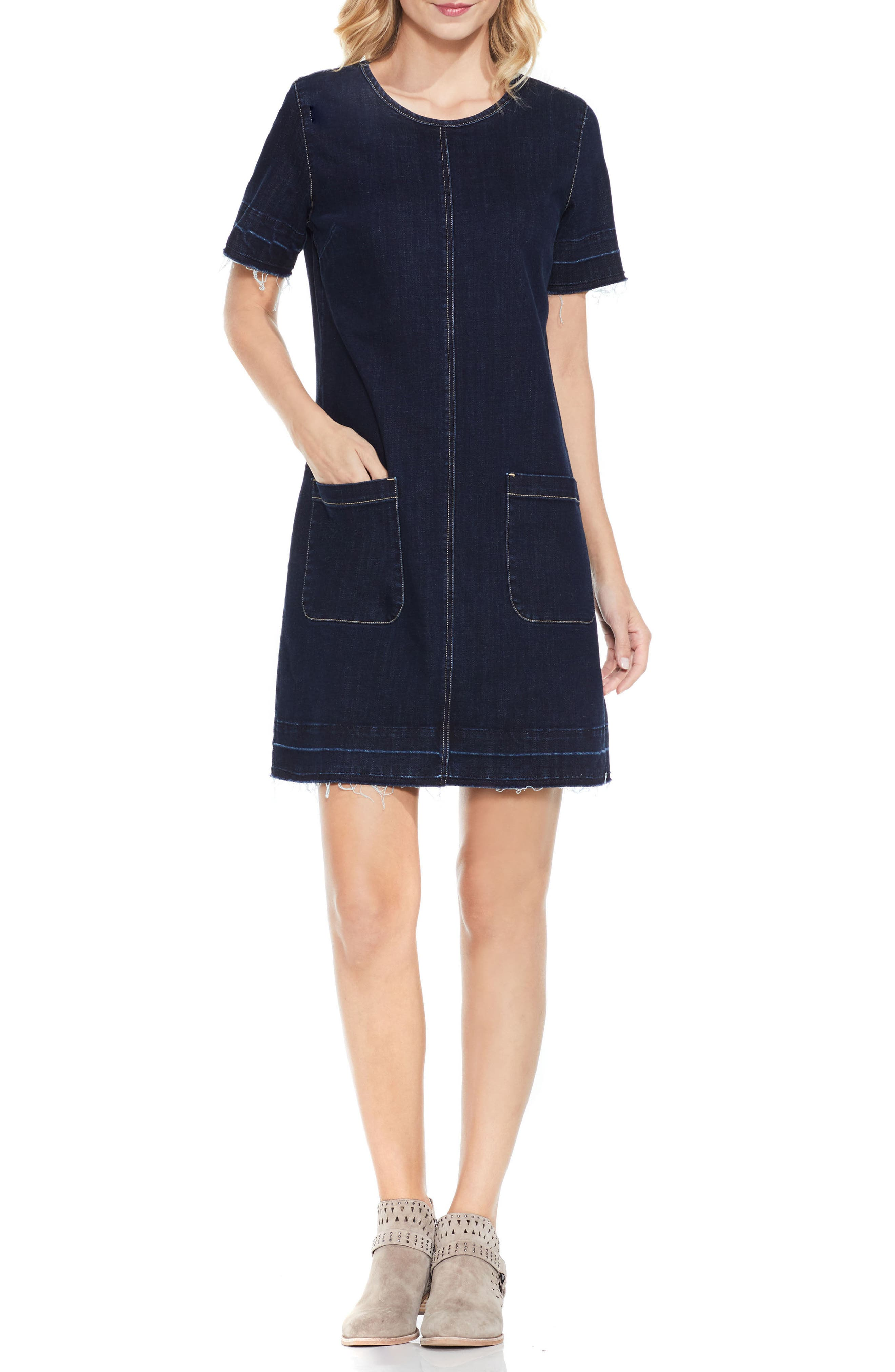 Alternate Image 1 Selected - Vince Camuto Release Hem Denim Dress