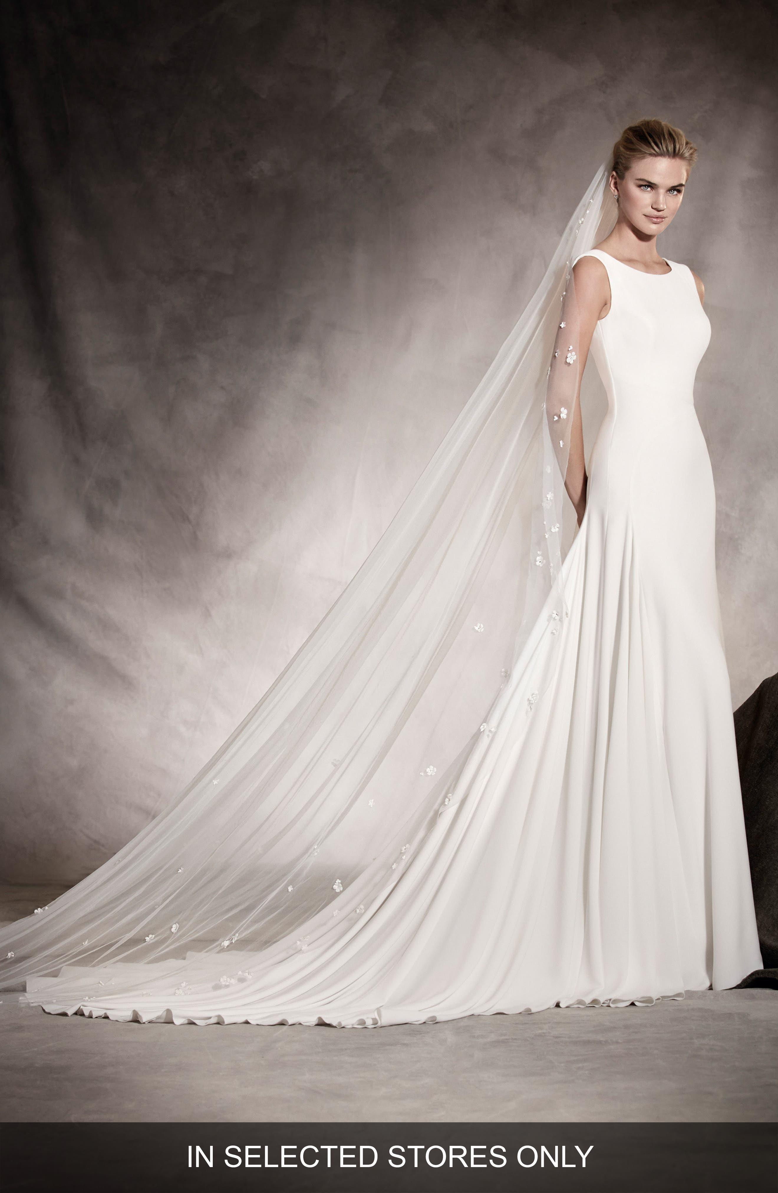 Amaya Crepe A-Line Gown,                             Main thumbnail 1, color,                             Off White