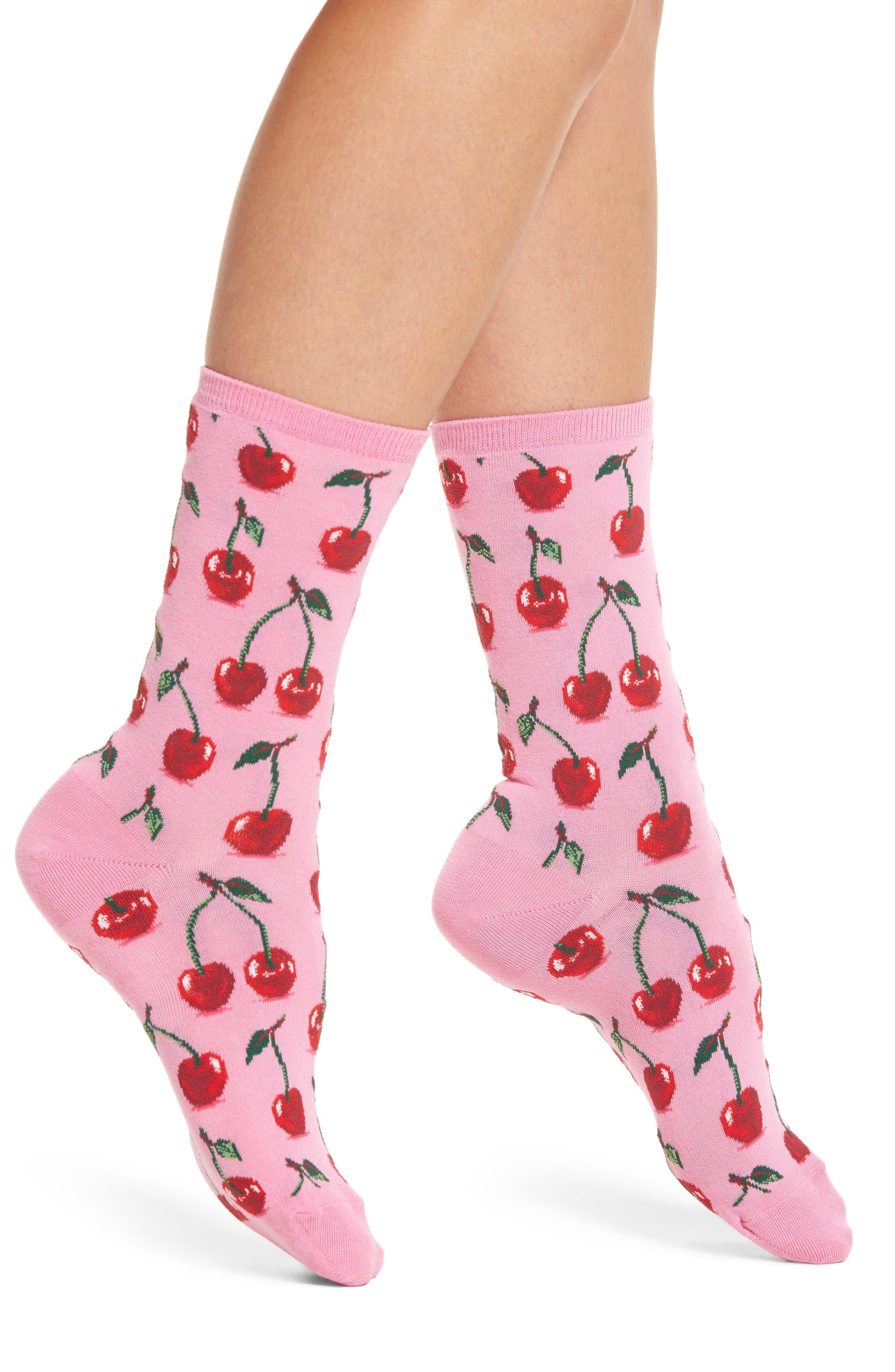 Hot Sox Cherries Crew Socks (3 for $15)
