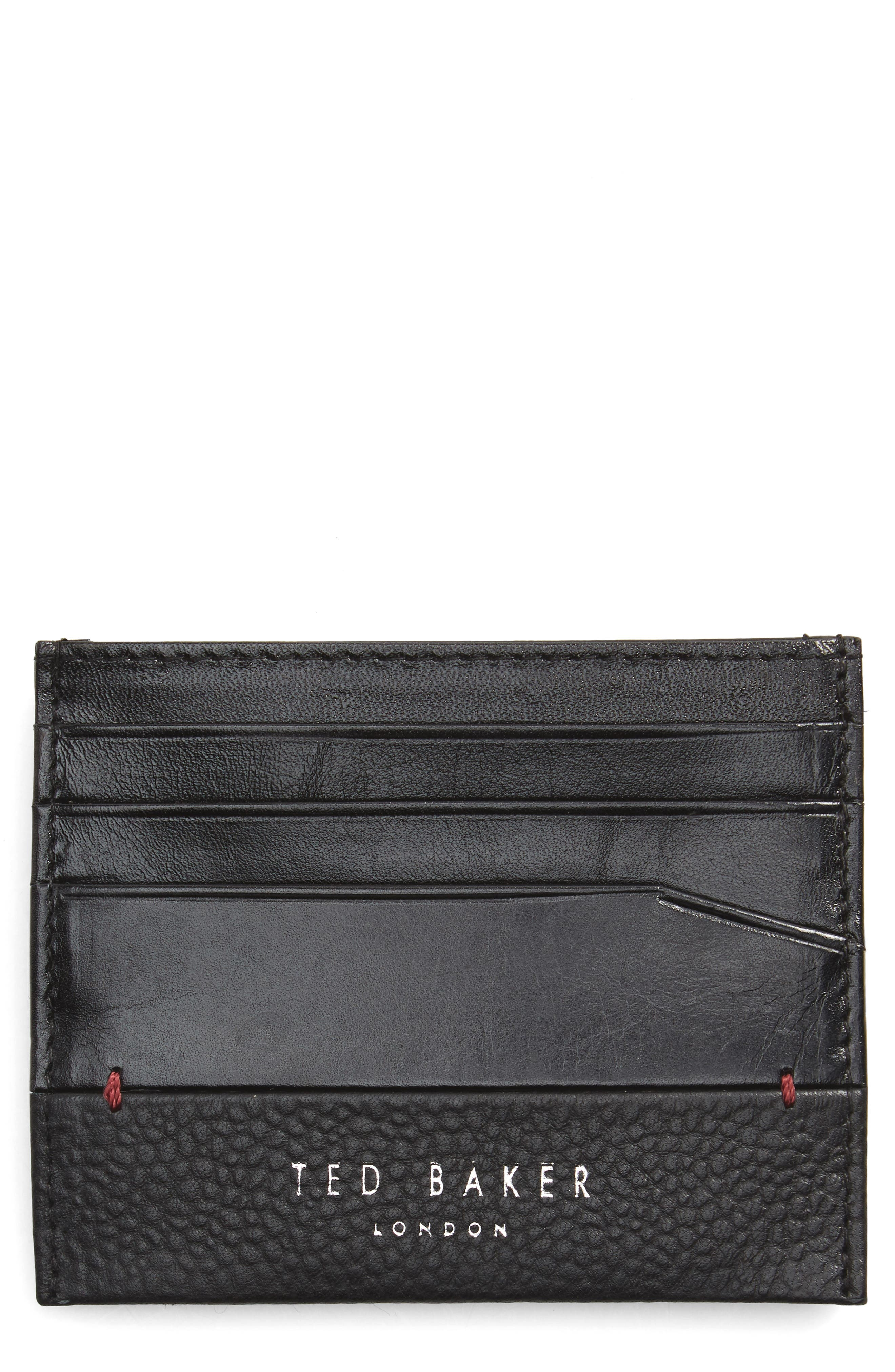Slippry Leather Card Case,                         Main,                         color, Black