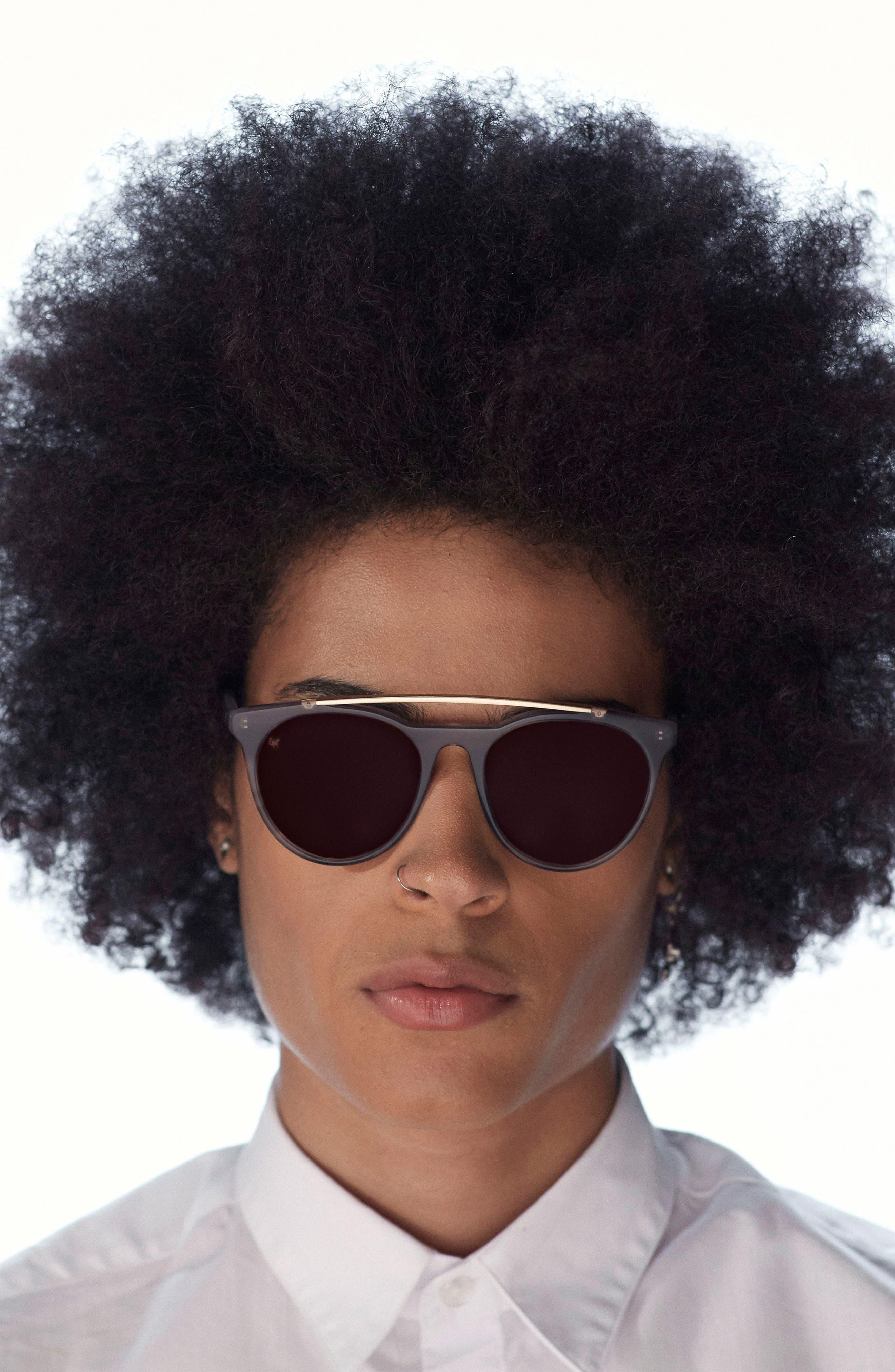Sugarman 52mm Round Sunglasses,                             Alternate thumbnail 3, color,                             Black/ Matte Gold