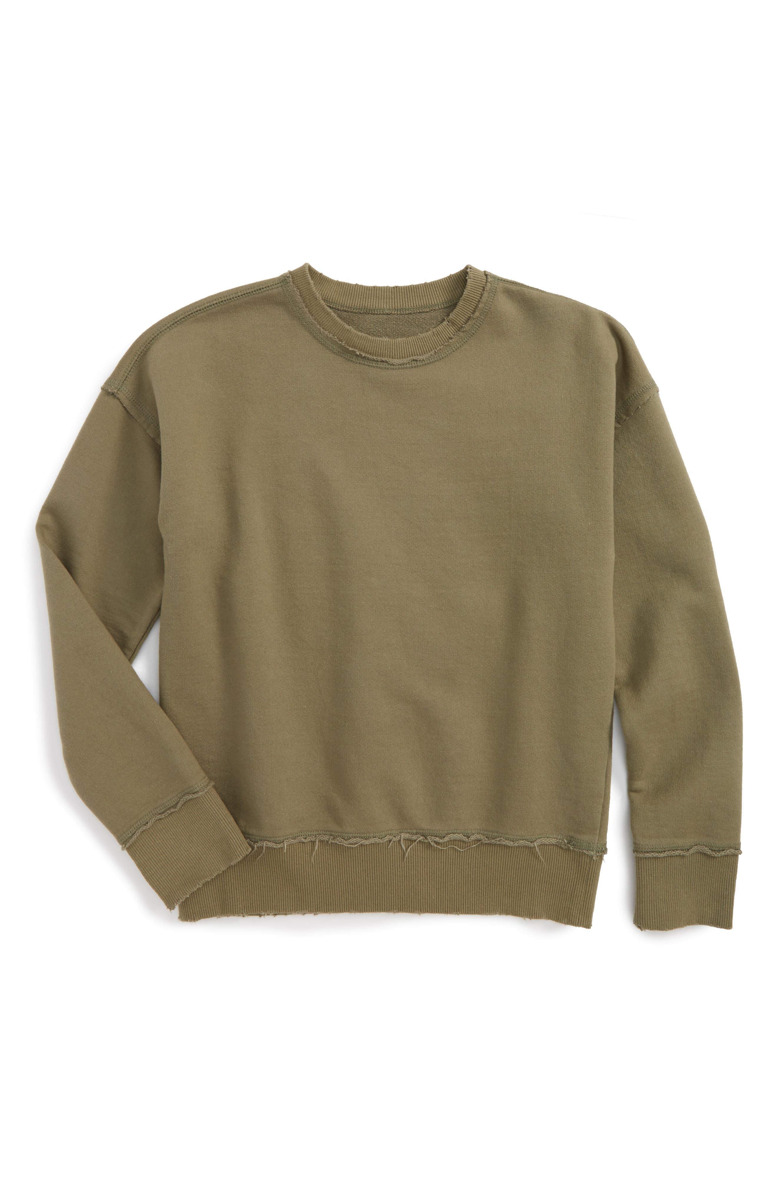 Raw Edge Crewneck Sweatshirt,                         Main,                         color, Olive Grove
