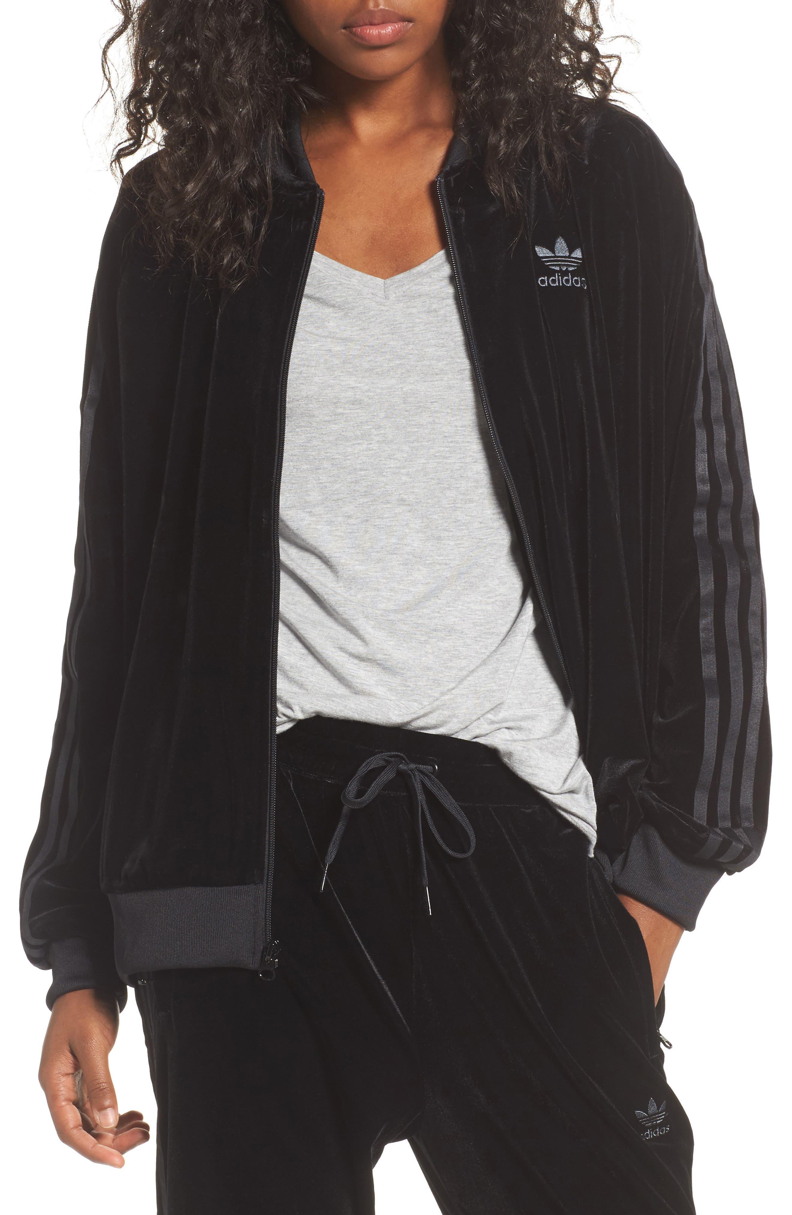Velvet Zip Sweatshirt,                         Main,                         color, Black